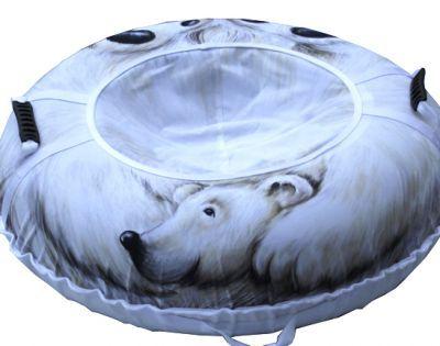 Тюбинг Белый медведь 110см.Санки ватрушки, тюбинг<br><br> От такого супер тюбинга-арбуза будут в восторге и взрослые и дети!<br> Ограниченная серия с эксклюзивным дизайном.<br> Успейте порадовать своего ребенка!<br><br><br> Материал верха и сиденья: прочная синтетическая ткань Оксфорд 600D PU 2000 плотностью 250 г м2.<br><br><br> Материал дна: прочная армированная тентовая ткань с глянцевым скользящим ПВХ покрытием плотностью 630 г м2.<br> Размер камеры: R14 для тюбингов диаметром 95 сантиметров, и R15 для тюбингов диаметром 105 см.<br> Ручки: эргономичные пластиковые со стропой.<br> Застежка на сидении: прочная молния N 10.<br> Нитки: прочные армированные лавсановые, не подвержены гниению. <br> Тип нанесения изображения на верх и сиденье: высококачественная, износостойкая, экологичная сублимационная печать, устойчивая к воздействию внешней среды.<br><br><br>Нанесение изображения на тюбинги методом сублимации<br><br> Суть этой технологии состоит в том, что при помощи широкоформатного плоттера изображение печатается на специальную бумагу чернилами на водной основе, затем оно переносится на синтетическую ткань при помощи каландера при высокой температуре.<br><br><br> Сублимация имеет целый ряд значительных преимуществ перед стандартными методами нанесения изображения или надписи:<br><br><br><br><br>Насыщенность изображения.<br>Возможность нанесения на ткань фотографического изображения высокого качества.<br>Экологически чистый способ печати.<br>Устойчивость изображения к истиранию.<br>Устойчивость изображения к изменению внешней среды.<br><br><br> Сублимационная печать считается одним из лучших методов печати на ткани. Нанесенное изображение получается ярким, высококачественным, износостойким и долговечным!<br><br><br> Подарите детям незабываемые впечатления!<br><br>Характеристики<br><br><br><br><br> Вес:<br><br><br> 2 кг.<br><br><br><br><br> Все размеры:<br><br><br> ? 110 см<br><br><br><br><br> Материал:<br><br><br> Материал верха - прочная синтетическая ткань Оксфор