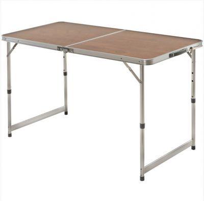 Стол-чемодан складной Greenell FT-5 V2Кемпинговая мебель<br>Удобный, большой стол складной Greenell FT-5 V2 идеално подойдет для отдыха в кемпинге, на даче, пикниках. Телескопические ножки позволяют регулировать высоту, а сумка с ручками для хранения и переноски облегчает его транспортировку к месту отдыха.<br>Характеристики<br><br><br><br><br> Max вес пользователя:<br><br><br> макс нагрузка 30 кг<br><br><br><br><br> Вес:<br><br><br> 4,2 кг.<br><br><br><br><br> Все размеры:<br><br><br> 120х60х70/55 см<br><br><br><br><br> Высота:<br><br><br> 70/55 см<br><br><br><br><br> Гарантия:<br><br><br> 6 месяцев.<br><br><br><br><br> Каркас:<br><br><br> алюминий 25 мм с матовым покрытием<br><br><br><br><br> Материал:<br><br><br> столешница Fiberboard<br><br><br><br><br> Особенности:<br><br><br> сумка для переноски, регулируемая высота<br><br><br><br><br> упаковка габариты см:<br><br><br> 85*65*6<br><br><br><br><br>