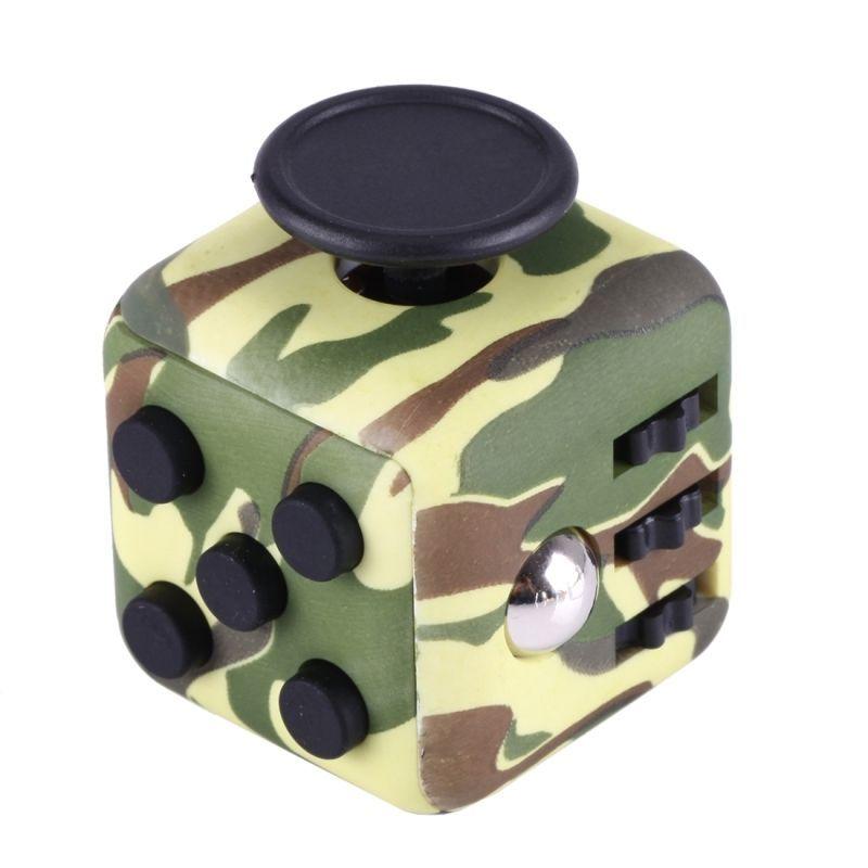 Кубик-антистресс Fidget Cube камуфляжКубики Антистресс Fidget Cube<br><br> Каждый человек хотя бы раз в жизни испытывал состояние напряжения и бесконтрольной двигательной активности. Вы тоже клацаете ручкой на важном совещании или «хрустите» пальцами в стрессовые моменты? Fidget Cube — и ваше поведение перестанет раздражать окружающих. Это замечательное приспособление как раз создано для того, чтобы расслабиться в сложные моменты или сосредоточить внимание, когда это необходимо. Кубик  имеет миниатюрные размеры и не займет много места в вашем кармане. <br><br>Кому нужен кубик-антистресс<br><br> Давно известно, что тренировка мелкой моторики рук способствует развитию головного мозга как у детей, так и у взрослых. Но если малыши могут удовлетворить эту природную потребность, играя с мелкими игрушками или перебирая пуговицы, то у взрослых дела обстоят сложнее.<br><br><br> Fidget Cube просто создан для тех, кто:<br><br><br>регулярно грызет колпачки ручек и карандаши;<br>«клацает» кнопочными ручками;<br>звенит монетками в кармане;<br>дергает ногой или «хрустит» пальцами;<br>постоянно вертит в руках небольшие предметы;<br>производит любые другие неконтролируемые манипуляции, раздражающие окружающих.<br><br><br> По отзывам тех, кто уже испробовал на себе это замечательное устройство, кубик моментально успокаивает после сильного стресса и помогает сосредоточиться в момент принятия важного решения.<br><br><br> Еще один немаловажный момент заключается в том, что Fidget Cube стоит дешево. Его цена по карману даже самому отчаянному скряге. <br><br>Что такое Fidget Cube<br><br> Кубик имеет 6 сторон. Каждая из них оснащена специальными роликами, кнопками, выемками, джойстиками или шариками. Взяв его в руки один раз, вы больше не захотите с ним расставаться!<br><br><br>Любите щелкать пальцами? Крутите! Особый подвижный диск, расположенный на одной из сторон, поможет принять правильное решение. Двадцать – тридцать оборотов и все получиться!<br>Прекратите ломать ручки! Клацайте! На 