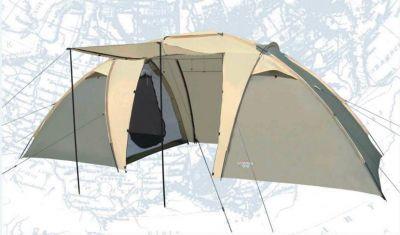 Палатка Campack Tent Travel Voyager 4<br> Классическа двухкомнатна кемпингова палатка дл несложных походов и семейного отдыха на природе. <br><br><br> Конструкци позволет использовать ее как в лесной зоне, так и в степной равнинной местности. <br><br><br> Палатка оснащена дополнительными вентилционными окнами, москитной сеткой на центральном входе в тамбур.<br> Модель Travel Voyager имеет два раздельных входа. <br><br><br> Полог основного входа имеет дополнительные стойки и может использоватьс в качестве навеса. <br><br><br> Особенности:<br> Высокопрочное дно изготовлено из армированного политилена, не пропускает влагу и устойчиво к истирани. <br><br><br> High Quality каркас изготовлен из фибергласса и обеспечивает надежность и устойчивость. <br> Внутри палатки имеетс подвеска дл фонар и карманы дл хранени мелочей. <br> Проклеенные швы гарантирут герметичность и надежность в лбой ситуации.<br><br>Характеристики:<br><br><br><br><br><br><br> Вес:<br><br><br> 10,1 кг.<br><br><br><br><br> Водонепроницаемость:<br><br><br> 3000 мм.<br><br><br><br><br> Все размеры:<br><br><br> Внешн палатка 460(Д)x230(Ш)x190(В) см, внутренние палатки 150(Д)x210(Ш)x170(В) см<br><br><br><br><br> Высота:<br><br><br> 190 см.<br><br><br><br><br> Каркас:<br><br><br> фиберглас 9,5 мм, сталь 16 мм.<br><br><br><br><br> Материал внутренний:<br><br><br> P.Taffeta 170T.<br><br><br><br><br> Материал пола:<br><br><br> армированный политилен (tarpauling).<br><br><br><br><br> Материал внешний:<br><br><br> P.Taffeta 190T PU.<br><br><br><br><br> Обработка швов:<br><br><br> проклеенные швы.<br><br><br><br><br> Размер в упаковке:<br><br><br> 67*20*20 см<br><br><br><br><br> упаковка габариты см:<br><br><br> 80*30*30<br><br><br><br><br>