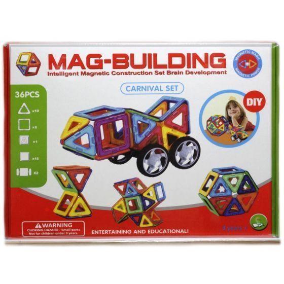 Магнитный конструктор Mag Building 36 деталей, для игры с детьмиMag Building<br><br> Ваш ребенок растет и познает мир, а значит, ему нужны полезные и занимательные игрушки, ведь именно через игру происходит самое первое и интересное обучение всем «взрослым премудростям». Mag Building – недорогой, но очень захватывающий и увлекательный набор. С его помощью малыш научится различать цвета и простейшие геометрические фигуры, а более взрослый ребенок сможет создавать масштабные 3D-постройки. Все детали соединяются между собой благодаря силе магнитов – поверьте, эти неодимовые «силачи» с легкостью удержат самую объемную форму.<br><br><br>  <br><br>В чем же полезность игры в конструктор?<br><br><br>Эффективное развитие мелкой моторики пальцев, а значит – прямая стимуляция мозговой деятельности;<br>Развитие фантазии и воображения – вы удивитесь, на что способен ваш малыш, если не ограничивать его инструкцией;<br>Пространственное восприятие;<br>Изучение форм, цветов и объемных фигур;<br>Тренировка внимательности, усидчивости и скрупулезности – в будущем, это поможет ребенку быть целеустремленным и настойчивым в достижении результата.<br><br>  <br><br>Преимущества<br><br>Эффективность;<br>Увлекательность;<br>Разнообразие форм и цветов;<br>Универсальность;<br>Полезный досуг;<br>Полная безопасность;<br>Доступная цена;<br><br><br> Набор из 36 деталей собирайте простейшие плоские или объемные фигуры небольшого размера. Заказав набор деталей, вы получаете практически безграничные просторы для воплощения любых идей и самых масштабных построек. В каждом наборе есть дополнительные детали и вставки – стойки, крепления, колесики и т.д.<br><br>Как играть?<br><br>Распакуйте конструктор;<br>Расположите детали на ровной поверхности и изучите инструкцию;<br>Попробуйте скрепить между собой детали набора;<br>Следуйте пошаговым рекомендациям из инструкции или попробуйте придумать что-то оригинальное;<br>Если вы играете с маленьким ребенком в первый раз – называйте ему цвета и формы деталей, ко
