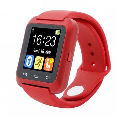 Умные часы Smart Watch U80 (красные)Аксессуары для смартфонов<br>Давно мечтаете обзавестись стильными и многофункциональными умными часами?<br><br><br>Тогда умные часы Smart Watch U80 - часы, созданные специально для Вас!<br><br><br> <br><br>Смарт-часы очень легки и удобны, размер можно регулировать. Устройство имеет множество полезных функций: барометр, шагомер, будильник, удалённое управление камерой и др. Часы синхронизируются со смартфоном посредством Bluetooth. Можно синхронизировать список контактов и журнал вызовов, принимать sms-сообщения, управлять музыкальным плеером. Для любителей селфи у часов также есть сюрприз - с помощью кнопки можно делать фото.<br><br><br> <br> <br><br><br>Стильный и практичный гаджет для тех, кто ведёт активный образ жизни. Умные часы имеют множество полезных функций и будут полезны в любой жизненной ситуации.<br><br><br>Держите руку на пульсе времени! <br> <br><br>Отличительные особенности:<br><br><br><br><br><br>- 13 основных функций <br> - Синхронизируются со смартфоном <br> - Регулируемый ремешок  <br> - 2 языка интерфейса<br><br><br> <br> <br><br><br> <br> <br><br><br><br>Способ применения:<br>  <br><br>Зарядите устройство. Наденьте часы, отрегулируйте ремешок. Включите часы и настройте их. Скачайте и установите приложение для синхронизации со смартфоном. <br><br> <br><br> <br><br>Умные часы Smart Watch U80 - Ваш компактный многофункциональный помощник в любой ситуации!<br><br> <br> <br><br><br>Комплектация:<br><br><br>Часы - 1 шт. <br> USB-кабель - 1 шт. <br> Оригинальная англоязычная упаковка с русской наклейкой со штрих-кодом <br> Русскоязычная инструкция<br><br><br> <br> <br><br><br>Технические характеристики:<br><br><br>Цвет корпуса: чёрный <br> Цвет ремешка: красный <br> Вес в упаковке: 108,8 гр. <br> Размер ремешка: универсальный <br> Тип аккумулятора: литий-полимерный  <br> 13 основных функций: шагомер, секундомер, функция анти-лост, барометр, синхронизация данных и др.<br><br> <br><br> <br>