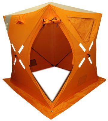Зимняя палатка куб WOODLAND ICE FISH 2, 160х160х180 смРыболовные палатки<br><br> Палатка для зимней рыбалки WOODLAND ICE FISH 2 имеет форму «Куб». Эти палатки быстро раскладываются, что позволяет отнести их в разряд автоматов. <br> Квадратная форма палатки позволяет более эффективно использовать внутреннее пространство в сравнении с зонтиками. В углы куба удобно встанет и баллон с газом, и рюкзак, и сумка с вещами, да и раскладушка, не съедая предназначенное для ловли пространство.<br> У кубов, стены, идущие вертикально вверх от пола, а не сужающиеся  к верху, как у зонтиков, позволяют разместиться внутри палатки гораздо более удобно, чем в палатках типа зонт. Вы можете сесть прямо спиной к стенке, и вашей голове ничего не будет мешать.<br> Прочный каркас из стекловолокна (фибергласс) обеспечивает надежное сохранение кубической формы в сильный ветер и препятствует накоплению влаги и снега на крыше палатки. Прочный, водостойкий и термо сберегающий материал тента, с широкой по всему периметру снегозащитной юбкой, обеспечивает полную защиту от ветра, снега и дождя.<br><br><br> Особенности  палатки для зимней рыбалки WOODLAND ICE FISH 2:<br> Мы измерили данную модель палатки в разложенном виде: 160*160*180 см.<br> Таким образом, расхождений с заявленными размерами в длине и ширине нет.<br> Материал хабов: металл; <br> Ширина между стенами: 195 см.<br> Длинна ввертыша: 18 см.<br> Диаметр вверыша: 0,9 см.<br> Ход резьбы ввертыша:0,5 см.<br> Длинна оттяжки: 2,4 м. <br><br><br>Конструкция с полуавтоматическим раскладыванием/складыванием<br>Каркас: трубчатое стекловолокно диаметром 9,5 мм<br>Материал: Полиэстер Oxford с PU покрытием<br>1 двойной вход, оборудованный прочным замком-молнией.<br>Два больших прозрачных окна, материалTRP морозостойкий обеспечивают достаточное освещение внутри нее даже в пасмурный зимний день и позволяют комфортно наблюдать за всем происходящим снаружи. Прозрачные окна при необходимости можно снять или полностью закрыть в зависимости от условий лов