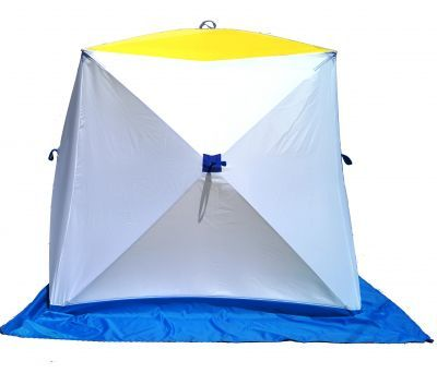 Палатка для зимней рыбалки Стэк Куб-3 двухслойнаяРыболовные палатки<br><br> Палатка для зимней рыбалки Стэк Куб-3 двухслойная позволяет рыбакам рационально использовать пространство. Сверлить лунки теперь можно прямо в установленной палатке. Габариты палатки позволяют делать это без каких-либо неудобств. В отличии от классических палаток-зонтиков, палатка-куб более ветроустойчива. Благодаря своей конструкции палатка выдерживает порывистый ветер. Из удобств - теперь при сборке палатки Вам не нужно заботиться о том, чтобы ткань была расправлена и случайно не зажата прутками, поэтому сборка происходит ещё быстрее. Все палатки Стэк Куб двухслойные выполнены из синтетической ткани Oxford 300PU с водонепроницаемой пропиткой, нижний тент (второй слой) из ткани Гретта (состав 80% синт.20% хлопок). Каркас изготовлен из cтеклопластика с добавлением карбона. Это обеспечивает долговечность инепродуваемость палатки.<br><br><br>Инструкция<br><br> Открытие палатки. Достали из чехла палатку, положили горизонтально.  Разверните  любую одну из  боковых сторон (к ним пришит полог палатки)  и потянули петлю до упора. У Вас открылась одна сторона. Следующую открываем крышу палатки (тянем за петлю до упора). Потом  открываем противоположную сторону палатки и затем остальные две стороны.<br><br><br> Закрытие палатки. Сначала закрываем три любые стороны палатки (слегка надавливая на петлю вовнутрь палатки), затем крышу. И последней закрываем  четвертую сторону.<br><br>Характеристики<br><br><br><br><br> Вес:<br><br><br> 9.8 кг.<br><br><br><br><br> Водонепроницаемость:<br><br><br> 3000 мм.<br><br><br><br><br> Все размеры:<br><br><br> 220*220 см.<br><br><br><br><br> Высота:<br><br><br> 205 см. Внутренний тент 195 см.<br><br><br><br><br> Гарантия:<br><br><br> 1 год.<br><br><br><br><br> Каркас:<br><br><br> Стеклопластик с добавлением карбона<br><br><br><br><br> Материал внутренний:<br><br><br> ткань Гретта (состав 80% синт.20% хлопок)<br><br><br><br><br> Материал внешний:<br><br><br> Oxford 300