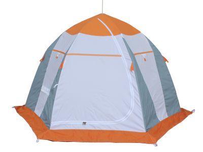 Палатка рыбака Нельма 3 (автомат)Палатки Нельма<br><br> Палатка рыбака Нельма 3 (автомат) отлично подойдет для любителей зимней рыбалки. В 2012 году компания «Митек» представила новый вариант данной палатки. В отличие от предыдущей версии эта палатка оснащена ярким оранжевым куполом, который будет заметен даже в условиях плохой видимости. Шестигранная конструкция палатки обеспечивает ей особую прочность, а для того, чтобы ветер не проникал внутрь, она оснащена ветрозащитной юбкой. Удобный механизм складывания позволит вам установить и собрать палатку в считаные минуты. Чтобы на стенках не собирался конденсат, у нее имеется два вентиляционных окна – одно снизу, другое на куполе. Для вашего удобства в палатке есть необходимые детали, такие как внутренние карманы и петля для подвешивания фонарика.<br><br><br><br><br> Представленное изделие отличается эргономичным дизайном и разработано на быстроразборном каркасезонтичного типа, выполненного из высококачественного материала (дюралевый пруток марки В-95Т1), что обеспечивает необходимую устойчивость и удобство эксплуатации. <br> <br> При изготовлении тента данного изделия использовано сочетание тканей-компаньонов, обладающих водоотталкивающими свойствами, необходимой гигроскопичностью и светопроницаемостью (Oxford 240T PU 2000 мм.), что обеспечивает комфортные условия для проведения зимней рыбалки, исключая появление конденсата внутри палатки. <br> <br> Применение замкнутой юбки с внешней стороны изделия (ширина юбки 20 см) обеспечивает плотное соединение с поверхностью и предохраняет от влияния внешних факторов. <br> <br> Вентиляционный клапан, расположенный напротив входа, обеспечивает дополнительный приток воздуха. <br><br>Характеристики<br><br><br><br><br> Вес:<br><br><br> 5.1 кг.<br><br><br><br><br> Водонепроницаемость:<br><br><br> 2000 мм.<br><br><br><br><br> Все размеры:<br><br><br> 230*265 см.<br><br><br><br><br> Высота:<br><br><br> 162 см.<br><br><br><br><br> Гарантия:<br><br><br> 6 месяцев.<br><br><br><br><br> К