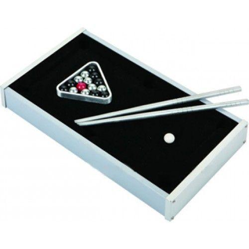 Настольный мини-бильярд TableTop mini pool table D009 - 21x10.5x4cm, игра для детейНастольный бильярд<br>Настольный мини-бильярд TableTop mini pool table D009 - 21x10.5x4cm<br><br>Мини - бильярд - это карманный вариант настольного бильярда, предназначенный для игр в любом месте, где Вам этого захочется. Такого малыша можно легко захватить с собой на вечеринку к друзьям или на пикник.<br><br>Особенности мини-бильярда от TableTop<br><br>Мини-бильярд от Tabletop является одним из самых качественных в этом классе. Его функционал полностью соответствует американскому бильярду. При этом сам стол, оба кия, шары и бильярдный треугольник изготовлены из металла.<br><br><br>Такое решение, во-первых делает мини-бильярд практически вечным изделием, сломать что-то очень сложно. Во-вторых, учитывая размеры мини-бильярда, играть тяжелыми шарами гораздо удобнее. Физика игры металлическими шарами ближе к настоящему бильярду, чем при использовании пластиковых шаров такого же размера.<br><br> <br>Причины купить мини-бильярд<br><br>- Может стать отличным подарком для людей увлекающихся бильярдом. Даже профессионалы по достоинству оценят качество исполнения изделия.<br><br><br>- Удивите своих друзей и знакомых, захватив мини-бильярд на вечеринку или на выезд на природу<br><br><br>- Даже если Вы не так часто собираетесь играть, он станет настоящим украшением любого интерьера.<br><br>Характеристики:<br><br>Габариты: 21х10х3,5 см<br><br><br>Вес: 450 грамм<br><br><br>Материал: велюр, металл<br><br>Комплектация:<br><br>1. Стол мини-бильярда TableTop<br><br><br>2. 16 шаров<br><br><br>3. Кий - 2 шт.<br><br><br>4. Бильярдный треугольник<br><br>Для оптовых покупателей<br><br>Чтобы купить мини-бильярд оптом, необходимо связаться с нашими операторами по телефонам, указанным на сайте. Вы сможете получить значительную скидку от розничной цены в зависимости от объема заказа.<br><br><br>Для получения информации о покупке товаров посетите раздел Оптовых продаж.<br><br> <br>