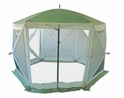 Тент-шатер Campack Tent A-2006WТенты Шатры<br>Тент-шатер Campack Tent A-2006W это современная модель быстросборного кемпингового тента большого размера.<br> Шестигранная конструкция тента создает большое внутреннее пространство и дополнительную стойкость каркаса.<br> Тент отлично подойдет для организации комфортного отдыха на природе. Вместительные размеры позволят разместить столовую или кухню для большой компании.<br> Тент оборудован антимоскитными сетками и влаго-ветрозащитными полотнами для защиты от непогоды.<br> Полотно тента изготовлено из ткани Oxford Poly PU c полиуретановой пропиткой 3000 мм водного столба для защиты даже от сильных ливней.<br> Швы тента дополнительно проклеены для защиты от проникновения влаги.<br> Высококачественный каркас из фибергласса обеспечивает надежность и стойкость тента к ветровым нагрузкам.<br> В комплекте колышки и оттяжки для закрепления тента.<br>Тент складывается в удобную сумку из усиленной ткани.<br>