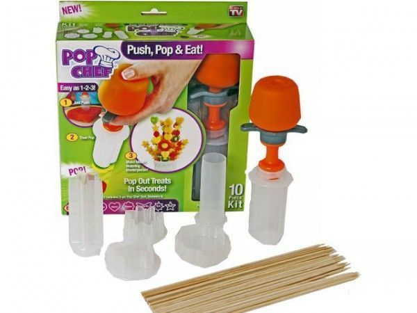 Набор для канапе Pop Chef (Набор для карвинга Поп Шеф)Наборы для канапе<br>Набор для канапе Pop Chef (Набор для карвинга Поп Шеф)<br><br>Набор для канапе Поп Шеф даст Вам возможность вырезать из овощей и фруктов различные фигурки, или же просто наносить на их поверхности симпатичные узоры. Вы сможете вырезать различные розочки, листочки, и тем самым украсить сандвичи, салаты, или же горячие блюда. Ваши гости останутся под впечатлением от такого искусства кулинарной работы.<br> <br>Набор Поп Шеф – это чудо набор для украшения стола и создания неповторимых канапе. Каждая хозяйка мечтает, чтобы блюда на праздничном столе были не только вкусными, но и красивыми.<br><br>С набором для карвинга Pop Chef  Вы сможете создавать аппетитные кулинарные шедевры от фруктовых букетов до закусок за считанные секунды и без особых усилий:<br> <br>- Бутерброды-канапе;<br> <br>- Начинка для пиццы;<br> <br>- Украшения для пирожных и тортов;<br> <br>- Овощные и фруктовые закуски;<br> <br>И многое другое, что подскажет вам ваша фантазия.<br><br>Для того чтобы создавать масштабные работы, Вам потребуется более профессиональный инструмент, а также свободное время, ведь и в карвинге существует множество техник.Набор для канапе Поп Шеф же пока что скромен в амбициях, но даже сейчас Вы способны сделать с его помощью шикарный стол, и оставить неизгладимое впечатление на своих родных, близких и гостей. Стол будет изобиловать красиво приготовленными тостами, закусками, украшенными декоративно оформленными фруктами и овощами.<br><br>Комплектация:<br> <br>- Груша для выдавливания;<br> <br>- 6 насадок для вырезания (цветочек, солнышко, звездочка, бабочка, сердце и круг)<br> <br>- Бамбуковые шпажки-палочки (6 шт.)<br> <br>Купить набор для канапе Поп Шеф<br> <br>Купить набор для канапе Поп Шеф, можно в нашем интернет магазине, мы осуществляем доставку по Москве, Санкт-Петербургу и другим городам и регионам России. Наши операторы всегда будут рады рассказать об особенностях набора.<br><br>Для оптовых по