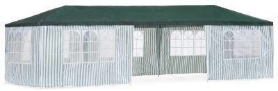 Садовый тент шатер Green Glade 1070Тенты Шатры<br><br> В этом шатре площадью 27 кв. м. комфортно разместится 30 человек.<br><br><br> Тент идеально подходит для организации праздников или на свежем воздухе. <br><br><br> В нем можно устраивать летнее кафе, зоны отдыха, выставки под открытым небом. <br><br><br> Если площадь позволяет можно приобрести такой тент шатер и для дачного участка. <br><br>Характеристики:<br><br><br><br><br><br><br> Вес:<br><br><br> 29 кг.<br><br><br><br><br> Все размеры:<br><br><br> 3(Д)х9(Ш)х2,5(В) м. Площадь -27 кв. м.<br><br><br><br><br> Высота:<br><br><br> 2,5 м.<br><br><br><br><br> Каркас:<br><br><br> металлическая трубка (31/24/25мм), пластиковые соединения.<br><br><br><br><br> Материал:<br><br><br> стечатый полиэтилен крыша 140г, стенки 100г.<br><br><br><br><br> Особенности:<br><br><br> Восемь стенок с прозрачными окнами. Стенки на липучках.<br><br><br><br><br> упаковка габариты см:<br><br><br> 117*25*41<br><br><br><br><br> Цветовое исполнение:<br><br><br> бело-зеленый<br><br><br><br><br>