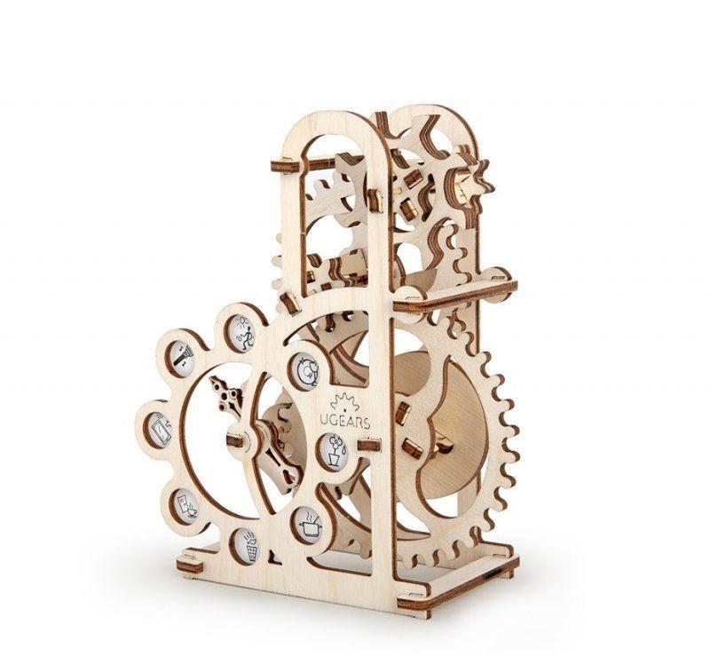 Деревянный конструктор UGEARS Силомер, (3D пазл), для детей, для взрослых, для конструированияДеревянный конструктор Ugears<br>Деревянный конструктор (3D пазл) UGEARS - Силомер<br> <br><br>  Деревянный конструктор Силомер включает 48 деталей на двух фанерных трафаретах и десяток деревянных палочек. Механический 3d конструктор поставляется в виде плоской фанерной дощечки, в которой лазерным станком с компьютерным управлением вырезаны элементы модели. Готовые детали конструкции легко выдавливаются из надреза в деревянной плате. Производители рекомендуют выщелкивать элементы по очереди, слегка надавливая на деталь с тыльной стороны фанерной дощечки, в соответствии с пошаговыми рекомендациями, которые содержит инструкция пазла Силомер UGears.<br><br>  <br>    <br>  <br><br>  Как устроен?<br><br>  Конструкция модели проста и элегантна. Изящное сооружение из ажурных деревянных элементов, зубчатых колес, шестеренок выглядит невероятно интригующе. Стоит подуть на восьмилопастное верхнее колесо и вся конструкция приходит в движение. Все элементы механического пазла отличает высочайшая геометрическая точность. Качество 3D пазла Силомер UGears контролируются на каждом этапе производства механического деревянного конструктора. Детали вырезаются в фанерном основании с помощью компьютеризированного лазерного станка, а запатентованная технология безклеевого соединения элементов конструкции является гордостью изобретателей из UGears.<br><br>  <br>    <br>  <br><br><br><br>  <br>    <br>       <br>         <br>          <br>         <br>       <br>     <br>   <br> <br>  Характеристики:<br> <br>  Материал: фанера<br> <br>  Размеры модели: 147х71х169 мм<br> <br>  Количество деталей: 48<br> <br>   <br>    <br>   <br> <br>  Для оптовых покупателей:<br> <br>  Чтобы купить деревянный конструктор Силомер оптом, необходимо связаться с нашими операторами по телефонам, указанным на сайте. Вы сможете получить значительную скидку от розничной цены в зависимости от объема заказа.<br> <br>  Для п