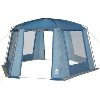 Тент-шатер Trek Planet Siesta (70258)Тенты Шатры<br>Данный шатер рассчитан на большое количество людей. Он имеет удобную шестиугольную форму, которая делает его очень вместительным. Поэтому, если вы едете на природу  большой компанией, то он подойдет как нельзя лучше. Внутри него можно организовать обеденный стол. Он сможет защитить вас от дождя, даже короткого сильного ливня, и от солнечных лучей. Имеет два входа и москитные сетки. В нем можно вставать в полный рост. По всему периметру располагается ветрозащитная юбка, что делает его очень устойчивым к ветру различной мощности. При необходимости внутри можно прицепить фонарь.<br>Характеристики:<br><br><br><br><br> Вес:<br><br><br> 13 кг.<br><br><br><br><br> Водонепроницаемость:<br><br><br> 2000 мм.<br><br><br><br><br> Все размеры:<br><br><br> Диаметр вписанной окружности 4 м, 2,1 (В). Площадь - 13,7 кв. м.<br><br><br><br><br> Высота:<br><br><br> 210 см.<br><br><br><br><br> Каркас:<br><br><br> стеклопластик 12,7 мм, сталь 19 мм.<br><br><br><br><br> Материал:<br><br><br> 100% полиэстер, пропитка PU, 2000 мм<br><br><br><br><br> Обработка швов:<br><br><br> швы проклеены.<br><br><br><br><br> Особенности:<br><br><br> Большие москитные сетки во всю ширину окон и дверей, защитные шторы на каждом окне и каждой двери, возможность подвески фонаря.<br><br><br><br><br> упаковка габариты см:<br><br><br> 86*25*25<br><br><br><br><br>