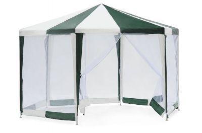 Садовый тент шатер Green Glade 1001Тенты Шатры<br><br> В том шатре площадь 10,4 кв. м. комфортно разместитс 12 человек.<br><br><br> Дачный шатер – незаменимый атрибут лбого садового участка. На ту роль как нельз лучше подходит тент Green Glade 1001. Благодар его ргономичной шестигранной форме Вы сможете с легкость поместить стол и стуль на вс семь и проводить завтраки и обеды на свежем воздухе. А москитна сетка со всех сторон шатра не подпустит к Вам надоедливых комаров, и Вы сможете в полной мере насладитьс отдыхом на природе.<br><br><br><br><br> Тент-шатер Green Glade 1001 используетс:<br><br><br> • Как замена стационарной беседке;<br><br><br> • При длительных выездах на пикник или кемпинг;<br><br><br> • Как игрова комната дл детей (Ваш ребенок будет защищен от солнца и комаров, и при том будет находитьс на воздухе);<br><br><br> • Прекрасно подойдёт дл организации небольших меропритий, например, дн рождени.<br><br><br><br><br> Часто такие шатры использут как тент над бассейном, чтобы туда не попадал мусор, листва, а также чтобы защититьс от солнца, а может даже и дожд. А шатры с москитными сетками еще и прекрасно защитт купальщиков от насекомых.<br> В том шатре, диаметр вписанной окружности которого 3,46 м, вы сможете разместить круглый бассейн диаметром не более 3,3 м.<br><br>Характеристики:<br><br><br><br><br> Вес:<br><br><br> 15 кг.<br><br><br><br><br> Все размеры:<br><br><br> Диаметр вписанной окружности 3,46 х 2,7(В) м. Стенка 2(Ш) м. Площадь - 10,4 кв. м.<br><br><br><br><br> Высота:<br><br><br> 2,7 м.<br><br><br><br><br> Гаранти:<br><br><br> 2 недели.<br><br><br><br><br> Каркас:<br><br><br> Металлическа трубка (19/19/25 мм), пластиковые соединени<br><br><br><br><br> Материал:<br><br><br> PE (плетеный политилен) 120 г.<br><br><br><br><br> Особенности:<br><br><br> Москитна сетка, прмой карниз. Шестигранник. Стенки вшиты.<br><br><br><br><br> упаковка вес кг:<br><br><br> 15<br><br><br><br><br> упаковка габариты см:<br><br><br> 110*18*23<br><br><br><br><br> Цвето