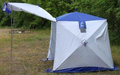 Палатка рыбака Пингвин Призма Шелтерс двухслойнаяТенты Шатры<br><br> - Палатка двухслойная с открывающейся стороной  <br> - Пятисекционный каркас с пожизненной гарантией  <br> - Основание палатки – квадрат  <br> - Алюминиевый пруток В95Т диаметр 8мм  <br> - Шарнирные соединения ХАБ  <br> - Торцы прутков закрыты пластиковыми наконечниками  <br> - Комплектуется двумя разборными стойками <br> - Рым-гайка для светильника с максимальной нагрузкой 3кг  <br><br><br> - Бегунки двухсторонние  две штуки на молнию для дополнительной вентиляции  <br> - Два окна форточки закрывающиеся, полностью на молниях  <br> - Внутри – два увеличенных кармана для снастей  <br><br>Характеристики:<br><br><br><br><br> Вес:<br><br><br> 11,3 кг.<br><br><br><br><br> Все размеры:<br><br><br> 185*360 см - с навесом, 185х185 - без навеса<br><br><br><br><br> Высота:<br><br><br> 175 см.<br><br><br><br><br> Материал внутренний:<br><br><br> из дышащей ткани СТ1<br><br><br><br><br> Материал внешний:<br><br><br> Оксфорда 240 PU2000<br><br><br><br><br> упаковка габариты см:<br><br><br> 133*20*20<br><br><br><br><br>
