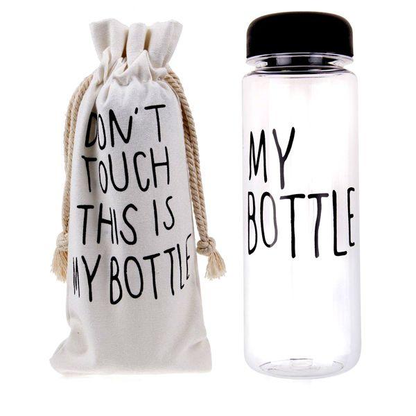 Бутылка This is my Bottle! (Это моя бутылка, май батл), Пластиковая для водыБутылки This is my Bottle<br> Руководство по эксплуатации, инструкция Бутылки This is my Bottle! (pdf 70 kb)<br><br> Бутылка для воды My Bottle – стильный must-have аксессуар этого сезона и настоящий хит продаж! Наполнить свою жизнь настроением и вкусом теперь так просто! Достаточно купить бутылку, наполнить ее любимым напитком и можно устроить себе маленький релакс или утолить жажду прямо на ходу, в разгар рабочего дня или тренировки. Бутылка изготовлена из легкого, но прочного экологического пластика, выдерживает температуры от -40 до 100° и имеет широкое горлышко со съемной насадкой для комфортного питья. Май Ботл – оригинальный вариант для символического презента «на память» и неотъемлемый атрибут стильных селфи в Инстаграм. В цену бутылочки входит удобный льняной мешочек на затяжках с оригинальным предостережением на английском: «Не трогать! Это моя бутылка!»<br><br><br>  <br><br>Зачем покупать My Bottle?<br><br> Компактный аксессуар для питья и перекуса My Bottle – для активных и целеустремленных. В эту бутылочку можно приготовить вкусный и полезный напиток и утолить жажду во время работы, на природе, в самолете или в спортзале. А можно наполнить ягодами, кусочками фруктов, орешками, хлопьями, зефиром или другим рассыпчатым лакомством и устроить небольшой перекус в обеденный перерыв или во время отдыха.<br><br><br> Бутылка очень легкая и компактная. Она не займет много места в рюкзаке или даже в женской сумочке.<br><br>Преимущества<br> <br><br>Экологичные материалы;<br>Легкость и компактность;<br>Удобный объем;<br>Эргономичная форма;<br>Стильный дизайн;<br>Практичность;<br>Универсальность.<br><br><br><br>Как приготовить вкусный освежающий напиток?<br> <br><br>В пустую чистую бутылку насыпьте любые фрукты – дольки цитрусовых, яблок, ягоды малины, клубники или смородины;<br>Слегка разомните фрукты ложкой, чтоб они пустили сок;<br>По желанию – добавьте мед;<br>Следующий ингредиент – кубик