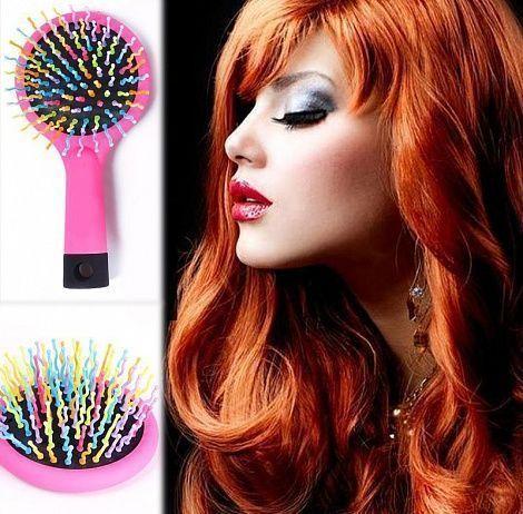 Расческа для придания объема Rainbow Volume Brush (Радуга), для запутанных волос с зеркалом