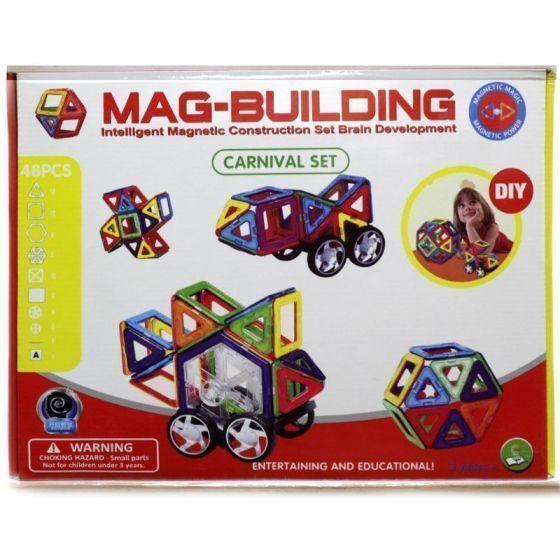 Магнитный конструктор Mag Building 48 деталейMag Building<br>Магнитный конструктор Mag Building 48 деталей<br> <br>Ваш ребенок растет и познает мир, а значит, ему нужны полезные и занимательные игрушки, ведь именно через игру происходит самое первое и интересное обучение всем «взрослым премудростям». Спешите купить популярный среди детей и взрослых магнитный конструктор Mag Building 48 деталей – недорогой, но очень захватывающий и увлекательный набор. С его помощью малыш научится различать цвета и простейшие геометрические фигуры, а более взрослый ребенок сможет создавать масштабные 3D-постройки. Все детали соединяются между собой благодаря силе магнитов – поверьте, эти неодимовые «силачи» с легкостью удержат самую объемную форму.<br> <br>  <br> <br>Уникальный конструктор – для маленьких гениев!<br> <br>Магнитный конструктор Маг Билдинг 48 деталей – абсолютный хит продаж и быстро раскупаемый товар! Это – самый отличный подарок – полезный и развивающий, к тому же по такой привлекательной цене. Вы можете смело оставить своего непоседу с конструктором наедине. Во-первых, это действительно увлекательное занятие, которое надолго увлечет даже самого гиперактивного и избалованного ребенка. Во-вторых – это абсолютно безопасная игрушка – никаких острых углов и токсичных красок, ни малейшего контакта с магнитами и опасности для здоровья малыша. Но собирать конструктор можно и вдвоем – почитайте отзывы и убедитесь, что Mag Building так же интересен родителям, как и их деткам.<br> <br>В чем же полезность игры в конструктор Mag Building?<br> <br> <br>  Эффективное развитие мелкой моторики пальцев, а значит – прямая стимуляция мозговой деятельности;<br> <br>  Развитие фантазии и воображения – вы удивитесь, на что способен ваш малыш, если не ограничивать его инструкцией;<br> <br>  Пространственное восприятие;<br> <br>  Изучение форм, цветов и объемных фигур;<br> <br>  Тренировка внимательности, усидчивости и скрупулезности – в будущем, это поможет ребенку быть целеустремленным и н