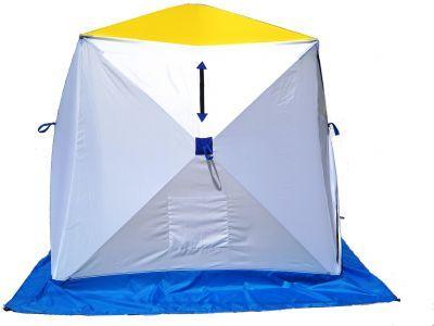 Палатка для зимней рыбалки Стэк Куб-1Рыболовные палатки<br><br> Палатка для зимней рыбалки Стэк Куб-1 позволяет рыбакам рационально использовать пространство. Сверлить лунки теперь можно прямо в установленной палатке. Габариты палатки позволяют делать это без каких-либо неудобств. В отличии от классических палаток-зонтиков, палатка-куб более ветроустойчива. Благодаря своей конструкции палатка выдерживает порывистый ветер. Из удобств - теперь при сборке палатки Вам не нужно заботиться о том, чтобы ткань была расправлена и случайно не зажата прутками, поэтому сборка происходит ещё быстрее. Все палатки Стэк Куб выполнены из синтетической ткани Oxford 300PU с водонепроницаемой пропиткой. Каркас изготовлен из cтеклопластика с добавлением карбона. Это обеспечивает долговечность и непродуваемость палатки.<br><br><br>Инструкция КУБ- 1 <br><br> Открытие палатки. Достали из чехла палатку, положили горизонтально. Разверните  любую одну из  боковых сторон (к ним пришит полог палатки)  и потянули петлю до упора. У Вас открылась одна сторона. Следующую открываем крышу палатки (тянем за петлю до упора). Потом  открываем противоположную сторону палатки и затем  остальные две стороны.<br><br><br> Закрытие палатки. Сначала закрываем три любые стороны палатки (слегка надавливая на петлю вовнутрь палатки), затем крышу. И последней закрываем  четвертую сторону.<br><br>Характеристики<br><br><br><br><br> Вес:<br><br><br> 5,3 кг.<br><br><br><br><br> Водонепроницаемость:<br><br><br> 3000 мм.<br><br><br><br><br> Все размеры:<br><br><br> 150*150 см.<br><br><br><br><br> Высота:<br><br><br> 170 см.<br><br><br><br><br> Гарантия:<br><br><br> 1 год.<br><br><br><br><br> Каркас:<br><br><br> Стеклопластик с добавлением карбона<br><br><br><br><br> Материал:<br><br><br> Оксфорд 300PU<br><br><br><br><br> Особенности:<br><br><br> Вентиляционный клапан, карман для мелочей<br><br><br><br><br> Площадь:<br><br><br> 2,25 кв.м.<br><br><br><br><br> упаковка габариты см:<br><br><br> 105*22.5*22.5<br><br><br><br>