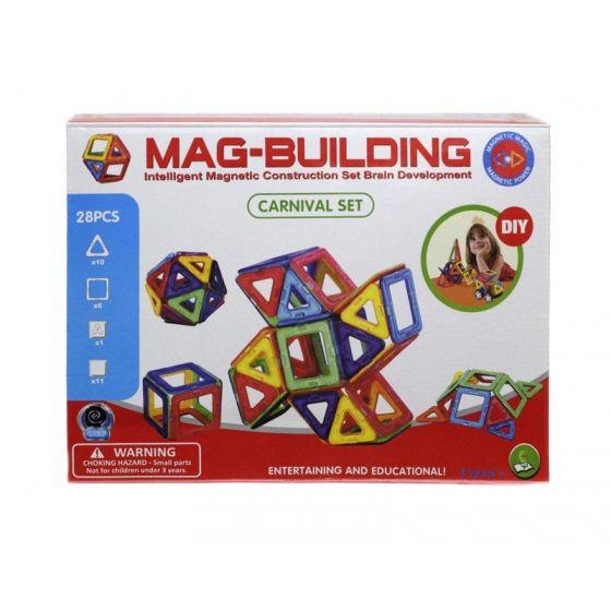 Магнитный конструктор Mag Building 28 деталей, для игры с детьмиMag Building<br><br> Ваш ребенок растет и познает мир, а значит, ему нужны полезные и занимательные игрушки, ведь именно через игру происходит самое первое и интересное обучение всем «взрослым премудростям». Mag Building – недорогой, но очень захватывающий и увлекательный набор. С его помощью малыш научится различать цвета и простейшие геометрические фигуры, а более взрослый ребенок сможет создавать масштабные 3D-постройки. Все детали соединяются между собой благодаря силе магнитов – поверьте, эти неодимовые «силачи» с легкостью удержат самую объемную форму.<br><br><br>  <br><br>В чем же полезность игры в конструктор?<br><br>Эффективное развитие мелкой моторики пальцев, а значит – прямая стимуляция мозговой деятельности;<br>Развитие фантазии и воображения – вы удивитесь, на что способен ваш малыш, если не ограничивать его инструкцией;<br>Пространственное восприятие;<br>Изучение форм, цветов и объемных фигур;<br>Тренировка внимательности, усидчивости и скрупулезности – в будущем, это поможет ребенку быть целеустремленным и настойчивым в достижении результата.<br><br><br>  <br><br>Преимущества<br><br>Эффективность;<br>Увлекательность;<br>Разнообразие форм и цветов;<br>Универсальность;<br>Полезный досуг;<br>Полная безопасность;<br>Доступная цена;<br><br><br> Набор из 28 деталей собирайте простейшие плоские или объемные фигуры небольшого размера. Заказав набор, вы получаете практически безграничные просторы для воплощения любых идей и самых масштабных построек. В каждом наборе есть дополнительные детали и вставки – стойки, крепления, колесики и т.д.<br><br>Как играть?<br><br>Распакуйте конструктор;<br>Расположите детали на ровной поверхности и изучите инструкцию;<br>Попробуйте скрепить между собой детали набора;<br>Следуйте пошаговым рекомендациям из инструкции или попробуйте придумать что-то оригинальное;<br>Если вы играете с маленьким ребенком в первый раз – называйте ему цвета и формы деталей, которые бе
