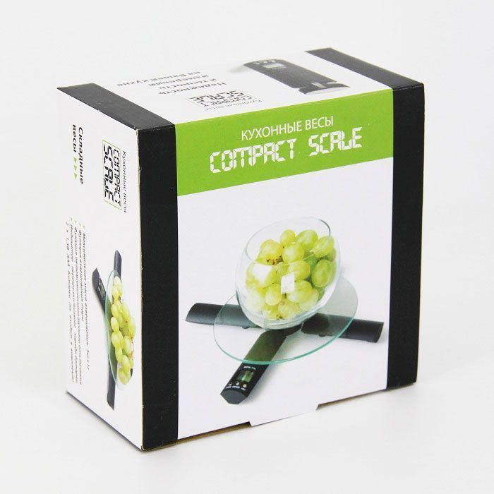 Кухонные складные весы Compact Scale (Компакт Скейл)Товары для кухни<br>Часто готовите и хотите с точностью до грамма знать вес продукта?<br><br><br><br>Кухонные складные весы Compact Scale (Компакт Скейл) обеспечат точность Ваших измерений!<br><br><br><br>    Стильные кухонные весы имеют складную конструкцию и дополнены специальной прочной подставкой из стекла. Вы можете взвешивать продукты массой до 3-х кг. Весы оснащены цифровым дисплеем и таймером на 100 мин. со звуковым сигналом. При превышении допустимой нагрузки и наличии малого заряда батарей на дисплее появится соответствующая информация.<br>  <br>    Умный электронный кухонный гаджет, способный с точностью до 1 грамма показать вес продукта. Оснащённый дополнительными функциями - таймером и установкой времени, сделает процесс приготовления ещё более приятным.<br>  <br>    Доверьте точность современным гаджетам!<br>  <br>    Отличительные особенности:<br>  <br>    <br>  <br>    <br>  <br>    – Работа от батареек<br>      <br>    – Цифровой дисплей<br>        <br>      – Таймер<br>  <br>    <br>          <br>        <br>  <br>    <br>            Способ применения:<br>          <br>          <br>        <br>          Разложите весы. Вставьте батарейки. Установите подставку. Положите на подставку взвешиваемый продукт - информация о весе отобразится на дисплее. Весы имеют функцию автовыключения после 1 мин. неиспользования.<br>        <br>          <br>            <br>          <br>        <br>          С кухонными складными весами Compact Scale (Компакт Скейл) Вы забудете о старинных методах взвешивания!<br>        <br>          Комплектация:<br>        <br>          Кухонные часы - 1 шт.<br>              <br>            Круглая подставка-стекло - 1 шт.<br>              <br>            Русскоязычная упаковка с русской наклейкой со штрих-кодом<br>              <br>            Русскоязычная инструкция<br>        <br>          <br>                <br>              <br>        <br>          Технические характеристи