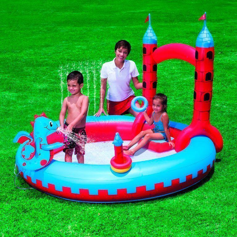 Надувной игровой центр для детей Interactive Castle Play Pool 221*193*150, 270л.Товары для отдыха<br>Не знаете, чем занять малыша в тёплый летний день?<br><br><br><br>Надувной игровой центр для детей Interactive Castle Play Pool 221*193*150, 270л. поможет весело и интересно провести время!<br><br><br><br><br><br>      Игровой центр представляет собой яркий надувной бассейн с функциями игр. Вход в бассейн выполнен в виде замка. Ребёнок может играть с надувным дракончиком и набрасывать надувные кольца. Если к игровому центру подключить обычный садовый шланг, то получится бассейн с фонтанчиком. Конструкция игрового центра выполнена из винила и безопасна для малышей.<br>    <br>      <br>    <br>      <br>    Многофункциональный набор для весёлого времяпрепровождения детей летом, сочетающий в себе бассейн, фонтанчик и кольцеброс. Полный комплект и компактный размер позволяет брать набор с собой.<br>Сделайте лето ребёнка незабываемым!<br>    <br>  <br><br>Отличительный особенности:<br>-2 в 1: бассейн и игрушка<br>  <br>- Встроенный разбрызгиватель<br>  <br>- Клапан для шланга<br>    <br>  -Ремонтная заплатка в комплекте<br>      <br>    - Вместимость: 270 л<br>      <br>    - Для детей от 3-х до 6-ти лет<br><br>      <br>    <br>  <br>          Способ применения:<br>        <br>        <br>      <br>        Откройте воздушный клапан и надуйте бассейн. Заполните камеру так, чтобы она была твёрдой на ощупь. Закройте клапан пробкой и вдавите его внутрь. Присоедините разбрызгиватель к садовому шлангу. Надавите на кнопку на дне бассейна - дракон брызнет водой. При сдувании выньте пробку и сожмите клапан у основания, пока не выйдет весь воздух. После сдувания протрите изделие влажной тряпкой.<br>      <br>        <br>          <br>        <br>      <br>        Надувной игровой центр для детей Interactive Castle Play Pool 221*193*150, 270л. - настоящий аквапарк у Вас дома!<br>      <br>        Комплектация:<br>      <br>        Надувной игровой центр - 1 шт.<br>            <br>