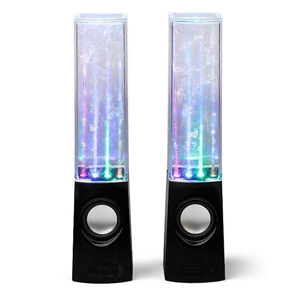 Колонки Танцующие фонтаны Water Dancing SpeakersТовары для дома и дачи<br>Хотите разнообразить Ваш интерьер по-настоящему необычными вещами?<br><br><br><br> Колонки Танцующие фонтаны Water Dancing Speakers наполнят Ваш дом удивительными визуальными эффектами и чистым звуком!<br><br><br><br><br> В нижней части колонок находятся миниатюрные помпы, выбрасывающие в прозрачную верхнюю часть эффектные струи жидкости, которые подсвечиваются разноцветными светодиодами. Струи меняют высоту в зависимости от музыкальных тактов, таким образом создается известный эффект поющих фонтанов.Колбы полностью герметичны, и потому не потребуют долива воды.<br><br>Преимущества колонок<br> <br><br><br><br><br><br> 4 цветных светодиода в каждой колонке<br><br> <br><br><br> Жидкость не требует долива  <br><br> <br><br><br> Работа через USB-кабель и кабель с аудиоразъёмом 3.5 мм<br><br> <br><br><br> Чистый мощный звук<br><br> <br><br>Способ применения<br><br> Подключите колонки при помощи кабеля к компьютеру, смартфону или другому источнику. Когда музыка не играет, колонки подсвечиваются светодиодными лампочками разного цвета. Фонтаны находятся в состоянии покоя <br><br><br> Колонки Танцующие фонтаны Water Dancing Speakers - двойное удовольствие от прослушивания любимой музыки!<br><br>Характеристики<br><br>Цвет: колонки - прозрачный, чёрный, светодиоды - синий, красный, жёлтый, зелёный<br><br>Вес в упаковке: 650 гр.<br><br>Размер: 220*50*60 мм<br><br>Питание: USB компьютера (ноутбука, планшета)<br><br>Мощность: 2*3 Вт<br><br>Аудио разъём: 3,5 мм<br><br>Диапазон воспроизводимых частот: 220 Гц - 15 кГц<br><br>Комплектация<br><br>Колонки - 2 шт.<br><br>3,5 мм аудио кабель - 1 шт.<br><br>USB-кабель - 1 шт.<br><br>Оригинальная англоязычная упаковка с русской наклейкой со штрих-кодом<br><br>Русскоязычная инструкция<br><br> <br>