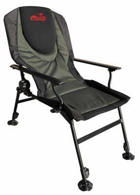 Кресло карповое Tramp Chairman TRF-031Кемпинговая мебель<br>Особенности:<br><br>Регулируемый наклон спинки.<br><br>Регулируемые ножки.<br><br>Спинка покрыта неопреном.<br><br>Стальные подлокотники.<br><br>Ножки увеличенной площади.<br><br>Характеристики<br><br><br><br><br> Max вес пользователя:<br><br><br> 150 кг<br><br><br><br><br> Вес:<br><br><br> 6,5 кг<br><br><br><br><br> Все размеры:<br><br><br> сиденье Ширина 53 х Глубина 47 см Высота спинки 52 см<br><br><br><br><br> Высота:<br><br><br> Высота от пола до сиденья 47 см<br><br><br><br><br> Гарантия:<br><br><br> 6 месяцев.<br><br><br><br><br> Каркас:<br><br><br> сталь (дуги 16 мм и 20 мм)<br><br><br><br><br> Материал:<br><br><br> Polyester Oxford 600D PVC, неопрен<br><br><br><br><br> упаковка габариты см:<br><br><br> 63*21*83<br><br><br><br><br>