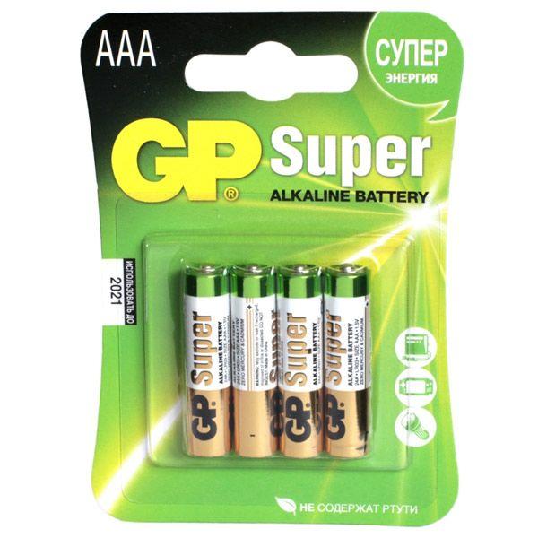 Батарейка GP LR03 AAA Alkaline (4 бл.), (Алкалайн), для зарядки устройств, для фотоаппаратаБатарейки<br>Внимание!Цена указана за блистер (4шт). Товар продается только упаковкой.<br><br>Батарейка GP LR03 AAA Alkaline (4 бл.)<br><br>Super Alkaline - цилиндрические и призматические элементы и батареи марганцево-цинковой системы с щелочным электролитом.<br><br>Область применения: фототехника, MP3-плееры, электронные книги, электронные игры, игрушки с батарейным питанием, аудио-устройства, рации, фонари.<br><br>Типоразмер - AAA (LR03)<br><br>Номинальное напряжение: 1,5 В.<br><br>Технология производства - щелочные<br><br>Особенности - алкалиновые<br><br>Количество в упаковке, шт. 4<br>