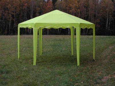 Тент садовый Беседка 6-граней без стенокТенты Шатры<br><br> В этом шатре площадью 10,4 кв. м. комфортно разместится 12 человек<br><br><br> Оригинальный шатер с шестискатной крышей можно использовать как летнее кафе, дачную беседку или павильон для торговли. Стальной каркас шатра имеет нижнее основание, все его части надежно крепятся между собой. Крестовины сделаны из утолщенной трубы, что позволяет повысить устойчивость конструкции.Стропы и липучки помогают хорошо натянуть тент.  что позволяет сделать его частично или полностью закрытым.<br><br><br> Для фиксации элементов каркаса, между собой, используются кнопки - защёлки. Соединительные элементы (крестовины) выполнены из стальной трубы увеличенной толщины. <br> Для этой модели Вы можете дополнительно приобрести стенки: с окном, без окна, с сеткой<br><br><br> Также не забудьте купить комплект колышков, чтобы хорошо растянуть Ваш шатер и сделать его еще более крепким и ветроустойчивым.<br><br>Характеристики: <br><br><br><br><br> упаковка габариты 2 место см:<br><br><br> 40*27*15<br><br><br><br><br> Вес:<br><br><br> 34 кг.<br><br><br><br><br> Водонепроницаемость:<br><br><br> 2000 мм.<br><br><br><br><br> Все размеры:<br><br><br> Диаметр описанной окружности 4х2,56(В) м. Стенка 2(Ш) м. Площадь - 10,4 кв. м.<br><br><br><br><br> Высота:<br><br><br> 2 м. В коньке 2,56 м.<br><br><br><br><br> Каркас:<br><br><br> Стальная труба 18 мм / 22 мм покрытая порошковой краской, угловые соединения каркаса стальная труба увеличенной толщины.<br><br><br><br><br> Материал:<br><br><br> тент пошит из синтетической ткани Oxford 240D 2000 PU с водоотталкивающей пропиткой и устойчивой к воздействию солнечных лучей.<br><br><br><br><br> Обработка швов:<br><br><br> швы крыши проклеены.<br><br><br><br><br> Особенности:<br><br><br> Может комплектоваться съемными глухими стенками, стенками с окном из прозрачной пленки и стенками с антимоскитной сеткой.<br><br><br><br><br> упаковка габариты см:<br><br><br> 130*25*12<br><br><br><br><br>