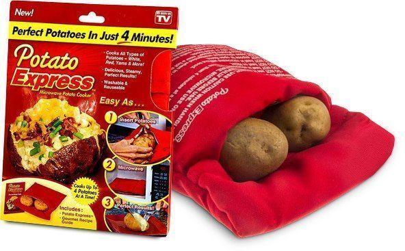 Мешочек для приготовления картофеля в микроволновой печи Potato Express, для запеканияПриспособления для приготовления картофеля<br>Мешочек для приготовления картофеля в микроволновой печи Potato Express<br> <br>Теперь легко и без труда появилась возможность приготовить запеченный картофель с помощью Potato Express за считанные минуты. Уникальная технология мешочка для приготовления картофеля в микроволновой печи состоит в термоизоляционном материале, благодаря которому время для приготовления картофеля установилось в отметке 4 минуты. Быстро, легко и безопасно можно приготовить до четырех картофелин за 1 раз, освежить хлеб или же просто разогреть булочку.<br> <br><br> <br>При приготовлении картофеля, он сохраняет все полезные свойства и насыщенный вкус и аромат. После использования, Potato Express можно легко мыть вручную или при помощи посудомоечной машины.<br> <br>Особенности Potato Express:<br> <br>- Быстрое приготовление картофеля  (4-5 минут)<br> <br>- За один раз можно приготовить до 4 картофелин<br> <br>- Легко мыть<br> <br>- Прост в использовании<br> <br>Уникальная конструкция Potato Express позволит создать отличные условия для приготовления запеченного картофеля или же початка кукурузы. Еще одним преимуществом при приготовлении запеченного картофеля в микроволновой печи является то, что перед приготовлением картофеля, его можно нафаршировать и спустя считанные минуты получить отличное готовое блюдо.<br> <br>(Книга рецептов в комплектацию не входит)<br> <br>Инструкция по использованию<br> <br>1. Помойте картофель<br> <br>2. Положите необходимое количество в мешочек<br> <br>3. Включите микроволновую печь на 4 минуты*<br> <br>4. По истечению времени достаньте мешочек<br> <br>5. Аккуратно выложите запеченный картофель на тарелку<br> <br>*(в зависимости от мощности микроволновой печи, время приготовления может увеличиться на 1 минуту)<br> <br>Характеристики<br> <br>- Материал: полиэстер, хлопок<br> <br>- Размер: 25х21 (ДхШ) см.<br> <br>- Цвет: красный<br> <br>