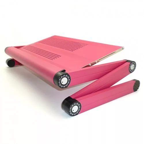 Складной столик-трансформер для ноутбука Т6, для кровати, для завтракаСтолики для ноутбука<br>Складной столик-трансформер для ноутбука Т6<br><br>Столик для ноутбука модели Т6 идеальное решение для тех, кто привык начинать свой рабочий день даже не вставая с кровати. Теперь можно комфортно разместить ноутбук или книгу на какой угодно поверхности. Вам будет удобно абсолютно в любом положении.<br><br><br>По достоинству оценят складной столик-трансформер T6 и люди с ограниченными физическими возможностями. Многофункциональная подставка позволяет выбирать различные варианты установки рабочего места. Вы больше не будете испытывать дискомфорта. Об этом позаботятся особые трехсекционные ножки, способные вращаться во всех направлениях.<br><br><br><br><br>Как это работает<br><br>Пользоваться ноутбуком теперь можно практически в каком угодно положении: в кровати, кресле, на полу, в куче подушек и одеял. Алюминиевая поверхность конструкции имеет отличную теплопроводность и моментально охлаждает нижнюю часть корпуса ноутбука. Ваша техника больше никогда не перегреется. Для лучшего отвода тепла поверхность столика оснащена множеством отверстий, что является еще одним несомненным достоинством.<br><br><br> <br><br><br>Даже если вы не приветствуете работу в кровати, можно использовать столик-трансформер T6 по принципу «завтрак в постель». Купите его для престарелой мамы, она получит море удовольствия от вашей заботы.<br><br><br>Не знаете чем удивить любимую? Складной столик T6 позволит даже самое хмурое утро превратить в уютный и романтичный завтрак для двоих.<br><br><br>По многочисленным отзывам «лежебок» столик Т6 становится незаменимым помощником для тех, кто обожает перед сном читать, делать записи, рисовать или описывать события, произошедшие за день.<br><br><br> <br><br>Особенности столика-трансформера T6 <br><br>Наш интернет-магазин предлагает своим покупателям только практичные, стильные и оригинальные вещи. Кроме того, все товары у нас стоят довольно дешево.<br><br><br>Стол