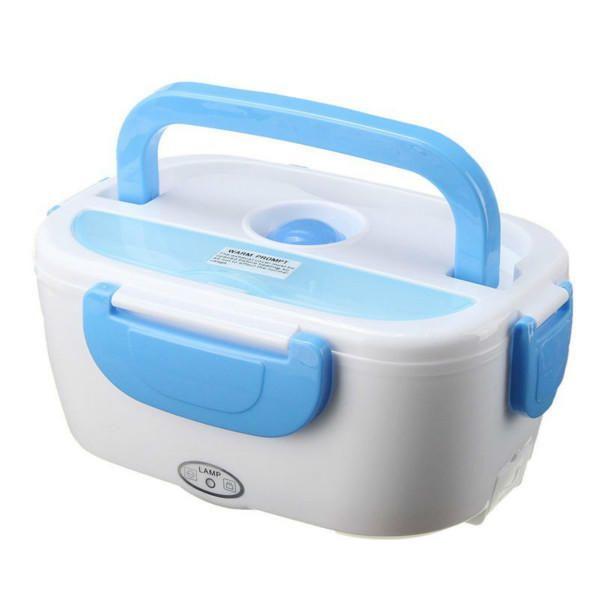 Электрический ланч-бокс с подогревом, синийТовары для кухни<br>Ланч-бокс с электрическим подогревом<br>        <br><br>     Теперь вы сможете навсегда отказаться от бутербродов и фастфуда. Главное условие работы ланчбокса – наличие электросети. Компактный контейнер, состоящий из двух элементов, легко помещается в сумку. А чтобы подогреть обед, вам нужно просто подключить контейнер к электросети. Вы можете в маленькое съемное отделение отправить салат, а в большое – гарнир с мясом, который нуждается в подогреве.    <br><br>    <br>Это – прекрасный подарок для человека, который проводит много времени на работе, а также заботится о своем здоровье и фигуре.<br><br>     Подробнее о частях ланч-бокса и его возможностях:    <br><br>        <br><br>    <br><br>    <br>Корпус состоит из прочного пищевого пластика. Главное – пища внутри не испортится до обеда, если вы выезжаете на работу рано утром    <br><br>     <br>    <br><br>    <br>Съемный контейнер имеет герметичную крышку, потому вы сможете без проблем налить туда первое блюдо или соус. Будьте уверены, конструкция не раскроется, благодаря наличию четырех крепежных элементов с силиконовым уплотнителем    <br><br>     <br>    <br><br>    <br> Пенал с пластиковой ложкой создан для того, чтобы вы могли пообедать с максимальным комфортом. А при желании вы можете отправить туда ложки, вилки или ножи из дома; На подогрев еды у вас уйдет всего 5 минут. Подключите контейнер к сети 220 вольт и вскоре вы сможете насладиться вкусной и полезной домашней пищей!    <br><br>     <br><br>        <br><br>        <br><br>     Технические характеристики: <br>        <br><br>Цвет: синий;<br>Материал: безопасный и надежный пищевой пластик; <br>Питание: сеть 220 В; <br>Мощность подогревателя: 40 Вт; <br>Время подогрева пищи: около 5 минут; <br>Объем бокса: 1,05 литра; <br>Объем маленького съемного отделения: 450 мл; <br>Объем большого не съемного отделения: 600 мл; <br>Размеры: 24 х 17 х 10 см; <br>Размеры упаковки: 24 х 17 х 12 см.<br><br>