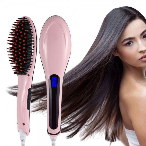 Электрическа расческа - выпрмитель Fast Hair Straightener, розовый, (Фаст Хаер), дл волос с ионизациейПлойки<br>Электрическа расческа - выпрмитель Fast Hair Straightener, розовый<br> <br> <br>  <br> <br> <br>Fast Hair Straightener — то расческа, применема дл выпрмлени волос под действием тепла. Принцип действи схож с работой утжков, но есть существенные различи, которые позволт той новинке выйти на первые позиции рейтингов устройств дл красоты волос.<br> <br>Эта новинка недавно повилась в европейских магазинах, но очень быстро набирает популрность. И мы рады одними из первых в России предложить Вам лектрическу расческу-выпрмительFast Hair Straightener. Эта расческа не только выпрмлет волосы, но и ионизирует их, дела более блестщими и гладкими.<br> <br> <br>  <br> <br> <br>Органы управлени и лементы расчески<br> <br><br> <br> <br>  <br> <br> <br>Как работает?<br> <br>При вклчении в лектросеть расческа достаточно быстро разогреваетс до нужной температуры, буквально за несколько секунд. При том свойство керамических лементов проводить тепло позволет поддерживать стабильну температуру в течение всей работы прибора, котора была выбрана пользователем. <br>  <br> <br>  <br> Врем воздействи зависит от типа волос, их длины и густоты, уровн спутанности, пушистости и степени завивки. Наименьшее количество времени требуетс дл обработки коротких волос. Общий рабочий цикл — от 5 до 10 минут. <br>  <br> <br>  <br> Благодар турмалиновому покрыти, нанесенному на расческу, в процессе нагревани тепло равномерно распределетс по всей рабочей поверхности, то позволет не обжигать волосы.<br> <br><br> <br>В чем особенность расчески Fast Hair Stranger?<br> <br>1. Это первый лектрический выпрмитель в виде расчески. Он объединет в себе массажну щетку дл волос и утжок. Теперь Вы можете выпрмлть и разглаживать волосы, просто расчесыва их.<br> <br>2. С щеткойFast Hair Straightenerвыпрмление волос и укладка занимает всего 5-10 минут.<br> <br>3. Расческа имеет турмалиновое покрытие. При нагревании