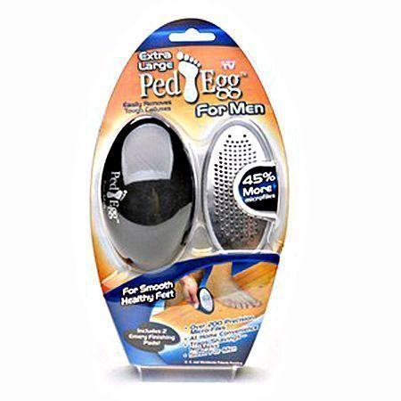 Набор для педикюра Гладкие Пятки (Идеальные ножки Ped Egg, Пед Эгг) для мужчин для огрубевшей кожиСредства для педикюра<br> Набор для педикюра Гладкие Пятки (Идеальные ножки Ped Egg, Пед Эгг) для мужчин<br> <br>В летнее время мужчины любят носить сандалии, шлепанцы или открытые туфли. И поэтому крайне важен эстетически ухоженный вид Ваших ступней, а не сухие, потрескавшиеся и мозолистые конечности. Не существует ничего противней, чем уродливые ноги в шлепанцах и к этому вопросу необходимо подходить серьезно, ведь это Ваше здоровье. Процедуры педикюра в спа-салонах, использование специальных лосьонов и скрабов. Все это Вы сможете сделать с помощью набора для педикюра Реd Egg для мужчин.<br> <br>Само название набор получил, поскольку он имеет форму яйца, которое удобно вмещается в ладонь. Перед использованием необходимо открыть сам прибор и вставить картридж с лезвием или прикрепить наклейку с наждачной бумагой.<br> <br>Набор для педикюра Реd Egg для мужчин прекрасно вписывается в ладонь и использовать его очень просто, просто двигайте прибор взад и вперед по нижней части ноги, чтобы удалить черствую и сухую кожу.<br> <br>В отличие от многих инструментов для педикюра, этот прибор предназначен для использования только на сухих и чистых ногах.<br> <br>Лезвие этого педикюрного комплекта выглядит почти как терка для сыра. После неоднократного применения в проблемных зонах, она бреет огрубевшую и мертвую кожу, чтобы Ваши ступни стали розовенькими и здоровыми на вид, и мягкими на ощупь.<br> <br>Все удаленные части после педикюра остаются внутри набора и попадают в специальный контейнер, так что процесс не доставит Вам хлопот с дополнительной уборкой квартиры.<br> <br>Кроме того делая педикюр таким набором, Вы прекрасно помассируете свои ступни, что тоже очень полезно для организма, ведь на нижних конечностях находятся все самые важные нервные окончания.<br> <br>Набор для педикюра Пед Эгг - очень хорошая профилактика для грибковых заболеваний.<br> <br>По миру уже продано бол