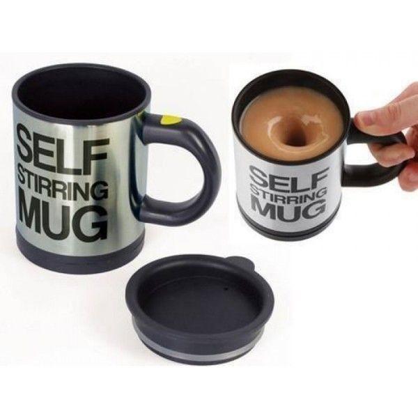 Кружка-мешалка Self Stirring Mug, кружка миксер, которая мешает самаКружки-мешалки <br>Кружка-мешалка Self Stirring Mug черная <br> <br>Кружка-миксер Self Stirring Mug черная – современный и интересный гаджет, который придется по душе абсолютно каждому человеку. Такую вещь можно купить как себе, так и в качестве подарка. Это отличный презент для людей разного возраста. Многие любят различные необычные и дешевые вещицы, но не каждая мелочь имеет смысл. Кружка-миксер Self Stirring Mug особенна, она сама приготовит любимый напиток всего за несколько секунд, смешав любые ингредиенты с жидкостью.<br><br><br> <br> <br>Для чего нужна кружка-миксер?<br> <br> <br> <br>Главная функция кружки-мешалки Self Stirring Mug – размешивание напитка. Такая чудо-вещь может понадобиться абсолютно в разных ситуациях. Чаще всего досадный момент наступает, когда решился выпить чай или кофе и осознал, что ложечку забыл, или же выпил напиток и забыл размешать сахар. Также Self Stirring Mug будет кстати, если совсем нет времени, чтобы выпить кофе утром, тогда можно легко взять такую кружку с собой, тем самым сэкономить драгоценное время. Убедиться в функциональности устройства можно, почитав отзывы обладателей Self Stirring Mug. Все эти небольшие неприятности легко избежать, если купить универсальную кружку в интернет магазине, к тому же по приятной цене. С ней вам больше не понадобится чайная ложечка, достаточно всего лишь нажать на кнопку и любимый напиток готов.<br> <br>Стоит отметить и внешний вид, который также немаловажен для современных людей. Выглядит кружка очень стильно и отлично будет смотреться и в офисе, и на домашней кухне, и даже на улице.<br> <br>Особенности кружки<br> <br>Производитель Self Stirring Mug предусмотрел все нюансы, поэтому бояться того, что с таким гаджетом можно легко вылить кофе на любимый наряд не стоит. Кружка плотно закрывается крышкой, поэтому размешивать напиток абсолютно безопасно. Качественный материал помогает сохранить тепло и не позволяет оставаться в 