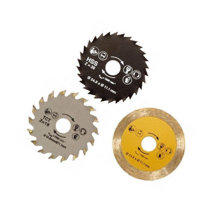 Набор дисков для универсальной пилы Роторайзер Rotorazer Saw 3шт, сменные лезвияЭлектроинструменты<br>Набор дисков для универсальной пилы Роторайзер Rotorazer Saw 3шт<br>  Смотрите также - Универсальная пила Роторайзер (Rotorazer Saw) <br> <br><br> Диски для пилы Роторайзер (Rotorazer Saw), в комплекте 3 шт.:<br><br><br> <br><br><br> 1. Высокоскоростное металлическое лезвие, 54.8 мм ? х 11.1 мм ? с 30 зубцами для алюминия, ламината и пластмассы.<br><br><br> 2. Вольфрамокарбидное лезвие, 54.8 мм ? х 11.1 мм ? с 18 зубцами для дерева, фанеры, МДФ, древесноволокнистой плиты средней плотности и слоистых материалов.<br><br><br> 3. Лезвие с алмазной пылью, 54.8 мм ? х 11.1 мм ? для плитки и керамики.<br><br>Для оптовых покупателей<br><br> Чтобы купить набор дисков для Роторайзер оптом, необходимо связаться с нашими операторами по телефонам, указанным на сайте. Вы сможете получить значительную скидку от розничной цены в зависимости от объема заказа.<br><br><br> Для получения информации о покупке товаров посетите раздел Оптовых продаж.<br><br> <br>