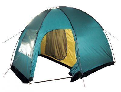 Палатка Tramp Bell 3Туристические палатки<br><br> Палатка Tramp Bell 3 - это двухслойная кемпинговая палатка с двумя входами и большим тамбуром. Прекрасно подходит для семейного отдыха.<br> Внешний тент палатки устойчив к ультрафиолетовому излучению, а также имеет пропитку, задерживающую распространение огня. Просторное спальное отделение защищено от надоедливых насекомых, ведь вход в него продублирован москитной сеткой.<br> Палатка Tramp Bell 3 надежно укроет на время дождя или снегопада. Все швы палатки проклеены, съемный пол сделан из терпаулинга, а внешний тент оборудован юбкой. <br> Палатка Tramp Bell 3, высокая, просторная, с тамбуром и несколькими отделениями - это лучшее, что можно предложить любителям кемпинга<br> <br><br><br><br><br> Установка:<br><br><br>Раскройте и разложите тент на земле. Убедитесь, что все молнии на внутренней палатке и тенте застегнуты.<br>Раскройте и соберите дуги так, чтобы каждое звено было вставлено в переходник соседнего звена до упора. Пропустите две одинаковые дуги в карманы на тенте перекрестно, а короткую дугу – в карман посередине тента. Зафиксируйте все концы дуг с помощью штыря, расположенного на тенте, вставив его в дугу.<br>Зафиксируйте нижние края тента колышками.<br>Разложите внутреннюю палатку внутри тента входом вперед. Зафиксируйте ее крючками к петлям, расположенным на тенте.<br>Растяните палатку, используя все оттяжки на наружном тенте. Убедитесь, что оттяжки и материал палатки не перетянуты и смогут амортизировать сильный ветер. Для лучшей устойчивости палатки крепите колышки в грунт под наклоном и следите за равномерным распределением натяжения тента со всех сторон.<br>Прикрепите съемный пол из терпаулинга с помощью петель, расположенных на тенте в тамбуре палатки.<br>Присыпьте юбку палатки землей или обложите ее дерном и камнями.<br><br><br><br><br><br><br> <br> Разборка палатки:<br><br><br> После использования палатку необходимо просушить. Упакуйте дуги и колышки в специальные мешочки. Сложите внутреннюю палат