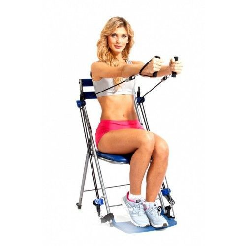 Стул-тренажер Bradex ФИТНЕС СТАНЦИЯ (Chair Gym)Универсальные тренажеры<br>Стул-тренажер «ФИТНЕС СТАНЦИЯ»<br> <br>Хотите всегда оставаться в форме, но Вам катастрофически не хватает времени на походы в спортзал? Ваши рабочие часы настолько ненормированные, что Вы просто не знаете, когда сможете вырваться на тренировку?<br>  <br>Особенности тренажера «ФИТНЕС СТАНЦИЯ»<br>  <br>Выполняйте более 50 разных упражнений при помощи стула-тренажера прямо в офисе или у себя в комнате! Этот удобный, безопасный и простой в использовании тренажер подходит для всех возрастов и уровней натренированности. В сложенном виде он помещается под кроватью или в шкафу.<br> <br>Преимущества стул-тренажера<br> <br>Ваш выход – стул-тренажер «ФИТНЕС СТАНЦИЯ»! Его простая, но эффективная структура позволяет:<br> <br> <br>  Эффективно тренировать все мышцы тела;<br> <br>  Улучшать гибкость, эластичность мышц;<br> <br>  Развивать выносливость;<br> <br>   Доступная цена. <br> <br> <br>Как пользоваться стул-тренажером «ФИТНЕС СТАНЦИЯ»<br> <br> <br>  Стул-тренажер «ФИТНЕС СТАНЦИЯ» можно использовать сидя на нем, опираясь на колени, стоя на подножке. <br> <br>  Возможны подъемы частей тела вверх-назад, сведение-разведение ног, закрепленных в эспандере. <br> <br>  Прокачка мышц рук, груди и спины при помощи верхних эспандеров и десятки других упражнений, указанных в инструкции и на флеш-карте.<br> <br> <br>Стул-тренажер «ФИТНЕС СТАНЦИЯ» – полноценная тренировка тогда, когда Вам удобно!<br>  <br> Характеристики <br> <br> <br>  Материал: нержавеющая сталь, искус. кожа, пластик;<br> <br>  Размеры: 110 x 54 x 12 см <br> <br>  Вес: 5,1 кг<br> <br> <br>Комплектация<br> <br> <br>  4 вкладыша для ножек;<br> <br>   2 резинки слабого сопротивления (зеленые);<br> <br>  2 резинки среднего сопротивления (синие) Medium/blue exercise bands;<br> <br>  2 поролоновые ручки;<br> <br>   2 ремня для лодыжек;<br> <br>   1 тренировочный DVD;<br> <br>  Большая таблица с упражнениями;<br> <br>  1 крепление для дверей;<br> <br> 