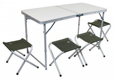 Набор мебели TREK PLANET EVENT SET 120 (стол+4 стула) 70665Кемпинговая мебель<br><br> Для пикника удобнее использовать малогабаритную складную мебель, которую можно было бы не только перевезти на автомобиле, но и перенести силами одного человека. Поскольку на пикник собираются, как правило, несколько человек, то удобнее использовать мебель в наборе. Набор мебели для пикника Набор мебели TREK PLANET EVENT SET 120 (стол+4 стула) 70665, включает в себя стол (складывающийся в чемодан) и четыре табурета. Размер стола позволит комфортно разместится за ним вчетвером. Небольшой вес и удобная ручка позволят доставить его к месту отдыха одним человеком. Проведя исследование рынка, и проанализировав мнение потребителей, был выведен габаритный размер данного набора мебели.<br><br><br> Набор кемпинговой мебели TREK PLANET складной предназначен для использования на природе, даче.<br><br><br>Особенности:<br>Набор включает стол и 4 стула<br>Стулья компактно складываются в стол<br>Регулируемая высота ножек стола<br>Столешница из огнеупорного пластика<br>Набор компактно складывается в плоский чемоданчик с ручкой для переноски<br>В сложенном состоянии занимает мало места<br><br><br> Бренд TREK PLANET прекрасно зарекомендовал себя на рынке, предлагая широкий ассортимент товаров для туризма и отдыха отличного качества.<br><br>Характеристики<br><br><br><br><br> Max вес пользователя:<br><br><br> Нагрузка на стол: 30 кг. Нагрузка на стул: 100 кг.<br><br><br><br><br> Вес:<br><br><br> 7,56 кг.<br><br><br><br><br> Все размеры:<br><br><br> Стол в разложенном виде: 120*60*70 см. Стула в разложенном виде: 41*29*34 см.<br><br><br><br><br> Высота:<br><br><br> стол 70 см / стул 34 см.<br><br><br><br><br> Гарантия:<br><br><br> 6 месяцев.<br><br><br><br><br> Каркас:<br><br><br> 22/25 мм алюминий с матовым покрытием<br><br><br><br><br> Материал:<br><br><br> Столешница из огнеупорного пластика<br><br><br><br><br> Особенности:<br><br><br> Регулируемая высота ножек стола<br><br><br><br><br> упаковка габа