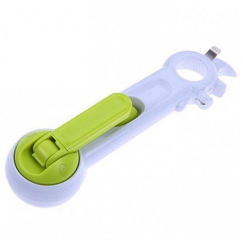 Универсальная открывалка - консервный нож 6 в 1 Kitchen Can OpenerТовары для кухни<br><br> Предлагаем вашему вниманию универсальный консервный нож 6 в 1 Kitchen Can Opener – недорогой, многофункциональный и надежный прибор, который стоит всегда держать под рукой. Эта открывалка справится с любой крышкой и любой банкой!<br><br><br> <br><br>Чем открывать консервы и домашние заготовки быстро и безопасно?<br><br> Универсальная открывалка – это настоящий клад для любой хозяйки. Больше не надо перерывать кухню в поисках подходящего приспособления, не надо звать на помощь мужа, да и вообще – забудьте о порезанных руках и пролитых консервах. Теперь вы будете справляться со всем сами, и тратить на это не более минуты! Консервный нож Kitchen Can Opener легко и ловко открывает:<br><br><br> консервные банки (шпроты, кукуруза и тд.) <br> крышки с кольцами; <br>стеклянные банки с домашними заготовками, в том числе и с еврокрышками; <br> бутылки с пивом; <br>пластиковые колбы с газировкой;<br>жестяные банки с кофе или чаем. <br><br><br> <br><br><br> Главные достоинства такого кухонного прибора – функциональность и компактность. Теперь, вам понадобиться всего один девайс, чтобы добраться до любимого лакомства! Поверьте, консервный нож способен открыть что угодно! При этом, открывашка Can Opener не занимает много места в кухонном ящике и смотрится стильно и современно.<br><br><br> Едете на пикник, идете в поход или планируете поездку в отпуск на море? Прихватите с собой универсальную открывалку! Он не тяжелый, но зато сможет выручить вас в любой ситуации, связанной с банками, крышками и упаковками.<br><br><br> А еще, это отличный подарок на новоселье для друга или близкого знакомого. Открывашка Can Opener – полезный и недорогой девайс, который просто незаменим на кухне. Он аккуратно вскрывает консервы, не оставляет рваных краев, и не портит упаковку. А значит, вам не грозят раны на руках и пролитая жидкость на стол или скатерть.<br><br>7 причин купить универсальную открывалку<br><br