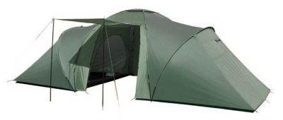 Палатка Green Glade Konda 6Туристические палатки<br><br> Двухкомнатная кемпинговая палатка на шестерых человек для использования в весенне-летний-осенний сезон.<br><br><br> Хорошо подойдет как:<br><br><br> 1. Палатка для автотуризма.<br> 2. Семейная палатка.<br> 3. Палатка для большой компании.<br> 4. Палатка для двоих/троих с большой гостинной.<br><br><br> Конечно, кемпинговые палатки, как правило, не носят на себе, а возят в машине. Такая двухкомнатная шестиместная палатка на протяжении многих лет является самой популярной моделью, т.к. она подойдет очень многим:<br><br><br> * семьям с одним или двумя-тремя детьми: родители спят в одной комнате, дети в другой.<br> * двум семьям без детей или одним ребенком.<br> * двум парам друзей, едущим на совместный отдых.<br> * просто друзьям: мальчики направо, девочки налево.<br> * школьникам, студентам, туристам для организации лагерной стоянки.<br> * базам отдыха и палаточным городкам для приема туристов.<br> * одной семье без детей или с одним ребенком. Можно не вешать одну внутреннюю палатку и тогда получится огромный тамбур, который будет служить детской, кухней и столовой. Но если вдруг нагрянут друзья, Вы быстро организуете им спальное место, повесив вторую внутреннюю палатку.<br><br><br> Вы можете не бояться дождя и мокрой земли: <br> *Водостойкость внешнего тента 2000 мм и проклееные швы гарантируют прекрасную защиту от дождя и ветра.<br> *Дно палатки полностью водонепроницаемо и сделано из прочного армированного полиэтилена.<br> Используйте продуманную систему вентиляции, чтобы не было жарко:<br> *Входная дверь во внутреннюю палатку состоит частично из глухого полотна и на 1/2 из москитной сетки, которая дублируется глухим полотном, и застегивается на молнию. Москитную часть двери можно не закрывать глухой стенкой, это поможет лучшему движению воздуха.<br> *В этой двухкомнатной кемпинговой палатке вентиляция в спальных отделениях осуществляется через двойной вентиляционный клапан на задней стенке палатки, который пр