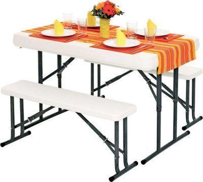 Набор: стол складной и 2 складные скамьи В113Кемпинговая мебель<br><br> Набор складной мебели В113, включающий в себя стол и две лавки,  предназначен для кемпингового или дачного отдыха в компании до 6 человек. <br><br><br> Отличается повышенной прочностью и удобным методом складывания (лавки убираются в столешницу и фиксируются с помощью ее сложенных телескопических ножек)<br><br>Характеристики<br><br><br><br><br> Вес:<br><br><br> 19 кг.<br><br><br><br><br> Все размеры:<br><br><br> Стол: 104.5*64*73 см. Лавка: 85*20*40 см.<br><br><br><br><br> Гарантия:<br><br><br> 6 месяцев.<br><br><br><br><br> Каркас:<br><br><br> металлическая труба 15х0,75 мм.<br><br><br><br><br> Материал:<br><br><br> пластик, металл, неопрен.<br><br><br><br><br> упаковка габариты см:<br><br><br> 105*65*10<br><br><br><br><br>