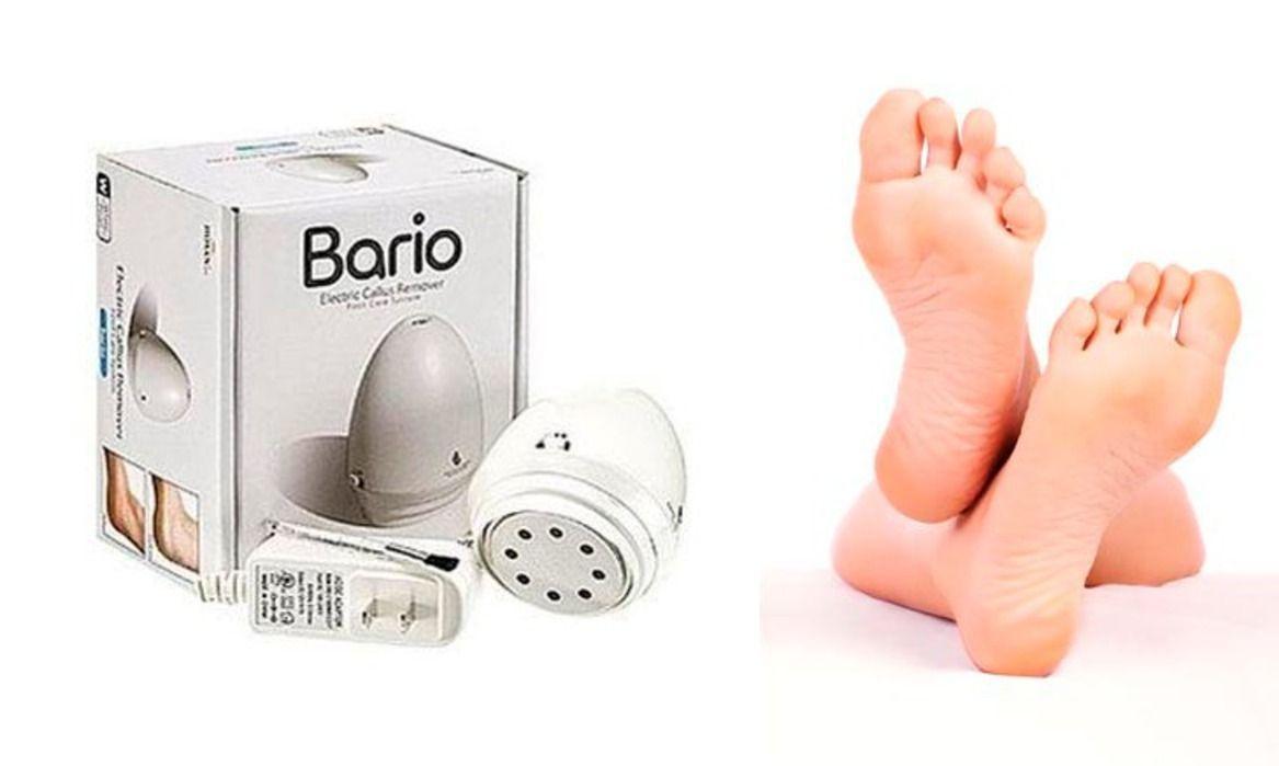 Многофункциональный педикюрный набор Bario (Барио), для удаления мозолей и натоптышей дома, массажер для телаСредства для педикюра<br>Многофункциональный педикюрный набор Bario (Барио)<br> <br>Многофункциональный педикюрный набор Bario предназначен для легкого удаления мозолей, натоптышей и другой огрубевшей кожи. Традиционно эти операции выполнялись с помощью отпаривания кожи и дальнейшего ее удаления пемзой. Набор позволяет делать эту процедуру гораздо качественнее и с меньшим повреждением кожи. Также прибор Барио является многофункциональным, помимо педикюрной функции он может служить отличным массажером для всего тела!<br><br>Какие преимущества у педикюрного набора Bario?<br> <br>- Устройством очень легко пользоваться и оно не несет вред здоровой коже.<br> <br>- Электропемза Bario имеет очень удобную конструкцию - очень эргономично ложиться в руку. Отверстия разного диаметра на защитной крышке позволяют осуществлять удаление небольших мозолей, оставляя при этом не тронутой здоровую кожу. Также это позволяет обрабатывать такие неудобные участки как пальцы ног.<br> <br>- Удаленные частички кожи остаются в специальном контейнере, а не рассыпаются по ванной комнате.<br><br>Многофукциональность электропемзы Bario<br> <br>В электропемзе Bario можно заменить шлифовальную насадку на массажную. Таким образом прибор легко превращается в массажер для любых участков тела. Bario осуществляет вибрационный массаж, который способствует улучшению кровообращения. Его применение в качестве массажера поможет снять боль и усталость в ногах, шее, плечах и других частях тела.<br><br>Особенности педикюрного набора<br> <br>- Электропемза Bario имеет две скорости вращения. Для удаления сильно загрубевших участков кожи следует использовать большую скорость. Для работы над нежными участками подойдет стандартная скорость работы.<br> <br>- Защитная крышка устройства имеет  4 отверстия овальной формы разного размера - они оптимально подойдет для обработки небольших участков на пальцах ног.<br