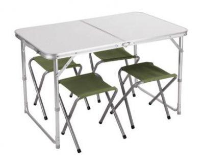 Набор мебели TREK PLANET Event set 95 (стол+4 стула) 70667Кемпинговая мебель<br><br> Для пикника удобнее использовать малогабаритную складную мебель, которую можно было бы не только перевезти на автомобиле, но и перенести силами одного человека. Поскольку на пикник собираются, как правило, несколько человек, то удобнее использовать мебель в наборе. Набор мебели TREK PLANET Event set 95, включает в себя стол (складывающийся в чемодан) и четыре табурета. Размер стола позволит комфортно разместится за ним вчетвером. Небольшой вес и удобная ручка позволят доставить его к месту отдыха одним человеком. Проведя исследование рынка, и проанализировав мнение потребителей, был выведен габаритный размер данного набора мебели.<br><br><br>Особенности: <br><br><br><br><br><br> Регулируемая высота ножек стола<br><br> <br><br><br> Нагрузка на стол: 30 кг<br><br> <br><br><br> Нагрузка на стул: 100 кг<br><br> <br><br><br> Стулья компактно складываются в стол<br><br> <br><br><br> Стол складывается чемоданчиком с ручкой для переноски<br><br> <br><br>Характеристики<br><br><br><br><br> Max вес пользователя:<br><br><br> стол 30 кг, стул 100 кг<br><br><br><br><br> Вес:<br><br><br> 7,3 кг<br><br><br><br><br> Все размеры:<br><br><br> стол 95*61*60 см, стул 23*29*33 см.<br><br><br><br><br> Высота:<br><br><br> стол 60 см, стул 33 см.<br><br><br><br><br> Каркас:<br><br><br> стол 25/19 мм алюминий с матовым покрытием<br><br><br><br><br> Материал:<br><br><br> столешница: огнеупорный пластик<br><br><br><br><br> упаковка габариты см:<br><br><br> 50*61*7<br><br><br><br><br>
