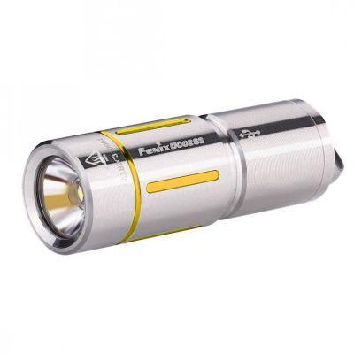 Фонарь аккумуляторный Fenix UC02SSРучные фонари Fenix<br>Модель Fenix UC02SS сделана как можно более компактной, удобной и надежной. Этот фонарь работает всего на одном диоде — белом Cree XP-G2 S2. Особенность такого диода состоит в большой продолжительности его жизни. Он предоставит более 50 тысяч часов освещения.Максимально доступная для UC02SS яркость составляет 130 люмен. Это не так уж мало для фонаря-брелока и позволяет качественно освещать предметы или территорию не только на ближнем, но и на среднем расстоянии. Яркость 130 люмен дает режим High. В данном случае, дистанция освещения составляет 48 метров, а до полной разрядки аккумулятора фонарь проработает 25 минут. Второй режим гораздо более экономный. Он дает всего 10 люмен, что увеличивает время работы до разрядки до 3 часов 50 минут. Радиус освещаемой территории при этом составляет 14 метров.<br> Модель UC02SS работает с аккумулятором, который продается вместе с этим фонарем. Его формат — 10180. Такой аккумулятор можно многократно заряжать вновь, а потому прослужит он по-настоящему долго. Кстати говоря, для зарядки батарею не нужно вынимать из корпуса фонарика. Однако фонарю придется открутить голову, чтобы получить доступ к разъему micro-USB. Зарядка полностью разряженного аккумулятора продлится 45 минут. Когда индикатор переключится с красного на зеленый, процесс зарядки будет завершен.<br> Система управления для Fenix UC02SS реализуется при помощи поворотного кольца, которое расположено в районе головы фонарика. UC02SS не запоминает выбранную яркость и включается всегда в режиме Low.<br> Корпус изготавливается из нержавеющего сплава стали. На нем имеются цветные декоративные вставки, которые могут быть синими или же золотыми. В хвосте фонарика имеется стальная петля, в которую можно продеть темляк, цепочку или же шнурок, который входит в комплект. Соответственно, фонарь можно носить так, как вам будет удобно: на шее, в кармане, в сумке или на ключах.<br>Особенности<br><br>маленький по размеру фонарь;<br