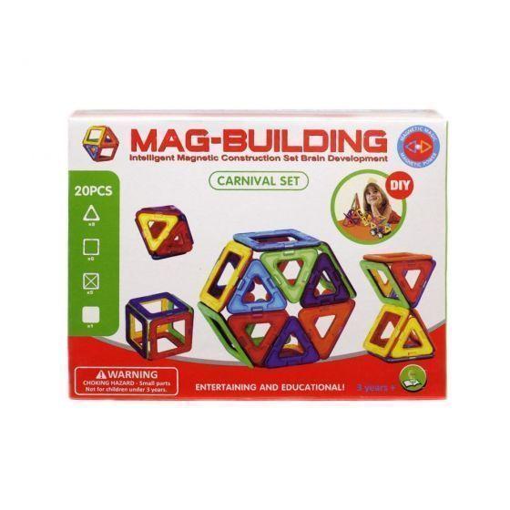 Магнитный конструктор Mag Building 20 деталей, для игры с детьмиMag Building<br><br> Ваш ребенок растет и познает мир, а значит, ему нужны полезные и занимательные игрушки, ведь именно через игру происходит самое первое и интересное обучение всем «взрослым премудростям». Mag Building – недорогой, но очень захватывающий и увлекательный набор. С его помощью малыш научится различать цвета и простейшие геометрические фигуры, а более взрослый ребенок сможет создавать масштабные 3D-постройки. Все детали соединяются между собой благодаря силе магнитов – поверьте, эти неодимовые «силачи» с легкостью удержат самую объемную форму.<br><br><br>  <br><br>В чем же полезность игры в конструктор?<br><br>Эффективное развитие мелкой моторики пальцев, а значит – прямая стимуляция мозговой деятельности;<br>Развитие фантазии и воображения – вы удивитесь, на что способен ваш малыш, если не ограничивать его инструкцией;<br>Пространственное восприятие;<br>Изучение форм, цветов и объемных фигур;<br>Тренировка внимательности, усидчивости и скрупулезности – в будущем, это поможет ребенку быть целеустремленным и настойчивым в достижении результата.<br><br><br>  <br><br>Преимущества<br><br>Эффективность;<br>Увлекательность;<br>Разнообразие форм и цветов;<br>Универсальность;<br>Полезный досуг;<br>Полная безопасность;<br>Доступная цена;<br><br><br> Набор из 20 деталей собирайте простейшие плоские или объемные фигуры небольшого размера. Заказав набор, вы получаете практически безграничные просторы для воплощения любых идей и самых масштабных построек. В каждом наборе есть дополнительные детали и вставки – стойки, крепления, колесики и т.д.<br><br>Как играть?<br><br>Распакуйте конструктор;<br>Расположите детали на ровной поверхности и изучите инструкцию;<br>Попробуйте скрепить между собой детали набора;<br>Следуйте пошаговым рекомендациям из инструкции или попробуйте придумать что-то оригинальное;<br>Если вы играете с маленьким ребенком в первый раз – называйте ему цвета и формы деталей, которые бе