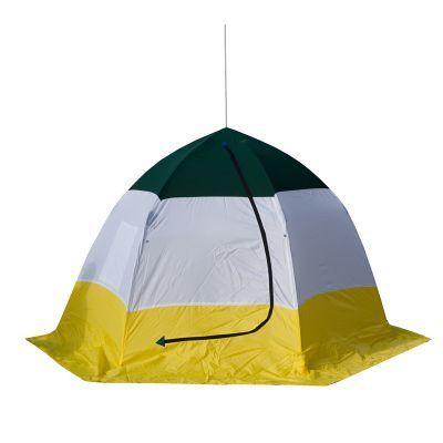 Палатка рыбака Стэк ELITE 3 (п/автомат) трехслойнаяРыболовные палатки<br><br> Палатка рыбака Стэк ELITE 3 (п/автомат) трехслойная предназначена для зимней рыбалки на льду, отличается эргономичным дизайном и разработана на быстроразборном каркасе зонтичного типа, выполненного из высококачественного материала (дюралевый пруток марки В-95Т1), что обеспечивает необходимую устойчивость и удобство эксплуатации. Вентиляционный клапан, расположенный напротив входа, обеспечивает дополнительный приток воздуха. Внешний тент - синтетическая непродуваемая  ткань (оксфорд 210PU), внутренний - утеплённая ткань (термостёжка).<br><br> Скорость раскрытия и установки палатки не превысит 30 секунд, демонтаж и укладка в чехол не занимает многим больше. <br> На палатке имеется широкая снего/ветрозащитная юбка, а внутри удобное вентиляционное окно на молнии.<br>Характеристики<br><br><br><br><br> Вес:<br><br><br> 5.5 кг.<br><br><br><br><br> Водонепроницаемость:<br><br><br> 2000 мм.<br><br><br><br><br> Все размеры:<br><br><br> 220*270 см.<br><br><br><br><br> Высота:<br><br><br> 160 см.<br><br><br><br><br> Гарантия:<br><br><br> 1 год.<br><br><br><br><br> Каркас:<br><br><br> Алюминиево-дюралевый каркас<br><br><br><br><br> Материал внутренний:<br><br><br> стеганое полотно из синтепона и подкладочной ткани таффета (термост?жка)<br><br><br><br><br> Материал внешний:<br><br><br> Оксфорд 210 PU<br><br><br><br><br> Особенности:<br><br><br> Трехслойная, шестигранный каркас. в отличие от обычных палаток СТЭК, полог больше на 20 см<br><br><br><br><br> Площадь:<br><br><br> 4,71 кв.м.<br><br><br><br><br> упаковка габариты см:<br><br><br> 115*30*20<br><br><br><br><br>