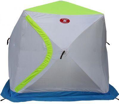 Палатка для зимней рыбалки Медведь Куб 2 трехслойнаяРыболовные палатки<br><br> Зимние рыболовные палатки  - незаменимый атрибут для подледного лова. Они укроют рыбака от ветра и не дадут замерзнуть при минусовых температурах.<br><br><br> Отличным решением для зимней рыбалки станет палатка Медведь Куб 2 трехслойная. Это палатка типа «куб», отличается от «зонтиков» своей вместительностью, за счет чего рыболовы могут использовать внутреннее пространство по максимуму.<br><br><br> Первое, о чем стоит сказать, - это материал палатки.<br> Внешний слой: Стенки палатки Медведь Куб 2 трехслойная изготовлены из достаточно прочного материала Oxford 210D с водоотталкивающей пропиткой, а верх палатки – из дышащей ткани Грета.<br><br><br> Внутренний слой: 2й и 3й слои представляют собой термостежку, состоящую из двух материалов. Верхний - Таффета 190Т, внутренний -  синтепон.<br><br><br> Таким образом, мы получаем трёхслойную палатку, в которой будет очень тепло зимой!<br><br><br> Каркас палатки сделан из усиленного фиберглассового прутка. Все хабы металлические.<br><br><br> Эта палатка оснащена широкой юбкой в 20 см, по углам идут петли для ввертышей (в комплекте не идут), а на каждой грани есть петля для оттяжки.<br><br><br> У палатки 2 входа,  что особенно удобно при использовании несколькими рыбаками. Каждый вход имеет двухстороннюю молнию, прикрытую защитным клапаном на резинке. Такая система помогает уменьшить обмерзание молний и  продувание палатки.<br><br><br> Вентиляцию в палатке помогают осуществить 2 окошка на молнии и еще одно несквозное окно под потолком, которое выходит на верхний дышащий слой. Через него наружу будут уходить излишки влаги и продукты сгорания от использования горелки или обогревателя.<br><br><br> Особенности палатки Медведь Куб 2 трехслойная:<br><br><br>Трехслойный материал;<br>Широкая юбка;<br>Два входа;<br>Защитный клапан над входной молнией;<br>Крючок для подвески лампы или фонаря;<br>8 карманов для мелочей (по 4 на противоположенных стенках);<br>
