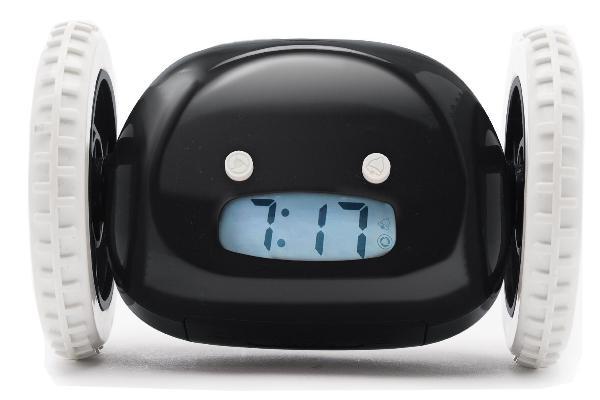Убегающий будильник Alarm Clocky Run черныйУбегающие будильники<br>Убегающий будильник Alarm Clocky Run (черный)<br> Инструкция к убегающему будильнику Alarm Clocky Run<br><br> Вставать утром по первому звонку получается далеко не у всех. Организм не хочет просыпаться, появляется желание перевести время еще на минуточку.... А времени на утренние процедуры и сборы остается все меньше. Убегающий будильник Alarm Clocky Run поможет Вам перестать поддаваться слабостям  и переносить пробуждение. Традиционные будильники не имеют в свое распоряжение средств к защите от Вашего доступа для перестановки времени. Будильник на колесах легко ускользнет от кровати  и Вы встанете именно тогда, когда запланировали!<br><br><br><br> <br><br><br>Каким образом Вы просыпаетесь?<br><br> Будильник Alarm Clocky Run с помощью прорезиненных колес передвигается по полу, избегая препятствий, призывая Вас искать его. Когда пришло время  прибор начинает проигрывать мелодию. Если Вам хочется подремать еще какое-то время, то вы можете (предварительно включив функцию) воспользоваться крупной кнопкой Snooze. После этого будильник отключится на установленное Вами время.<br><br><br> Но он дает только один такой шанс! Как только время истекло, снова громко начинает играть сигнал, а будильник улепетывает от Вас подальше. Как бы не хотелось снова провалиться в сон, а приходится вставать и искать настырного помощника. Вы получите заряд бодрости на целый день, сонливость пропадет и немного зарядки еще никому не мешало!<br><br>Будильник можно настроить под себя!<br><br> Убегающий будильник Alarm Clocky Run  дает возможность подредактировать настройки под удобный для Вас вариант пробуждения. Возможно установить продолжительность времени, которое Вы будете дремать после первой тревоги. Диапазон регулируется от 0 до 9 минут. Установив 0, Вы лишаете себя такой возможности и аппарат начнет бегство при первом звонке.<br><br>Особенности<br><br> Будильник  наделен  достаточным интеллектом.  Встречая препятствия по д