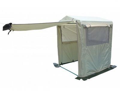 Палатка-кухня Митек Стандарт 1,5х1,5Тенты Шатры<br><br> Для комфортного приготовления пищи на природе идеально подходят удобные палатки-кухни. Каждая кухня оснащена окнами или стенками с противомоскитными сетками, которые закрываются шторками, одна из стенок используется как вход, регулируемый по ширине или по высоте (зависит от типа кухни)*. Тенты для таких кухонь сшиты из непромокаемой прочной ткани. На задней стенке есть регулируемое отверстие для провода (электрического или газового). Кухню легко собирать и разбирать, все детали каркаса надежно крепятся между собой, делая конструкцию устойчивой. Палатка-кухня надежно защитит от неблагоприятных погодных условий.<br><br><br> *Палатка-кухня Митек Стандарт 1,5х1,5<br><br><br><br><br> Широкий вход на молнии<br><br><br><br><br> 3 стенки с большими окнами защищенными антимоскитной сеткой, закрывающиеся шторками на молнии<br><br><br><br><br> Вентиляционный клапан с москитной сеткой на задней стенке<br><br><br><br><br> Снизу на задней стенке регулируемое отверстие для провода электричества или газа<br><br><br><br><br> Каркас изготовлен из прочной стальной трубы ? 25 мм и усиленными узловыми соединениями (углами) , покрыт порошковой краской.<br><br><br><br><br> Каркас палатки-кухни имеет нижнее основание и верхнюю обвязку, которые повышают прочность конструкции.<br><br>Характеристики:<br><br><br><br><br><br><br> упаковка габариты 2 место см:<br><br><br> 55*30*13<br><br><br><br><br> Вес:<br><br><br> 15,7 кг.<br><br><br><br><br> Водонепроницаемость:<br><br><br> 2000 мм.<br><br><br><br><br> Все размеры:<br><br><br> 1,5(Д)x1,5(Ш)x2,3(В) м. Площадь - 3 кв. м.<br><br><br><br><br> Высота:<br><br><br> 1,8 м/2,3 м.<br><br><br><br><br> Каркас:<br><br><br> Труба ? 25 мм.<br><br><br><br><br> Материал:<br><br><br> Тент из прочной ткани с водоотталкивающим покрытием 240D.<br><br><br><br><br> Обработка швов:<br><br><br> швы крыши проклеены.<br><br><br><br><br> упаковка габариты см:<br><br><br> 95*17*15<br><br><br><br><br>