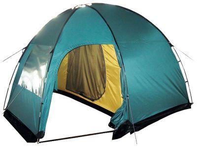 Палатка Tramp Bell 4Туристические палатки<br><br> Палатка Tramp Bell 4 - это двухслойная кемпинговая палатка с двумя входами и большим тамбуром. Прекрасно подходит для семейного отдыха и отдыха в большой компании. <br> Внешний тент палатки устойчив к ультрафиолетовому излучению, а также имеет пропитку, задерживающую распространение огня. Просторное спальное отделение защищено от надоедливых насекомых, ведь вход в него продублирован москитной сеткой.<br> Палатка Tramp Bell 4 надежно укроет на время дождя или снегопада. Все швы палатки проклеены, съемный пол сделан из терпаулинга и имеет водостойкость в 8000 мм в.ст., а внешний тент оборудован юбкой. <br> Палатка Tramp Bell 4, высокая, просторная, с тамбуром и несколькими отделениями - это лучшее, что можно предложить любителям кемпинга<br><br><br> <br><br><br><br><br><br><br> <br> Установка:<br><br><br>Раскройте и разложите тент на земле. Убедитесь, что все молнии на внутренней палатке и тенте застегнуты.<br>Раскройте и соберите дуги так, чтобы каждое звено было вставлено в переходник соседнего звена до упора. Пропустите две одинаковые дуги в карманы на тенте перекрестно, а короткую дугу – в карман посередине тента. Зафиксируйте все концы дуг с помощью штыря, расположенного на тенте, вставив его в дугу.<br>Зафиксируйте нижние края тента колышками.<br>Разложите внутреннюю палатку внутри тента входом вперед. Зафиксируйте ее крючками к петлям, расположенным на тенте.<br>Растяните палатку, используя все оттяжки на наружном тенте. Убедитесь, что оттяжки и материал палатки не перетянуты и смогут амортизировать сильный ветер. Для лучшей устойчивости палатки крепите колышки в грунт под наклоном и следите за равномерным распределением натяжения тента со всех сторон.<br>Прикрепите съемный пол из терпаулинга с помощью петель, расположенных на тенте в тамбуре палатки.<br>Присыпьте юбку палатки землей или обложите ее дерном и камнями.<br><br><br><br><br><br><br> <br> Разборка палатки:<br><br><br> После использования палатку необх